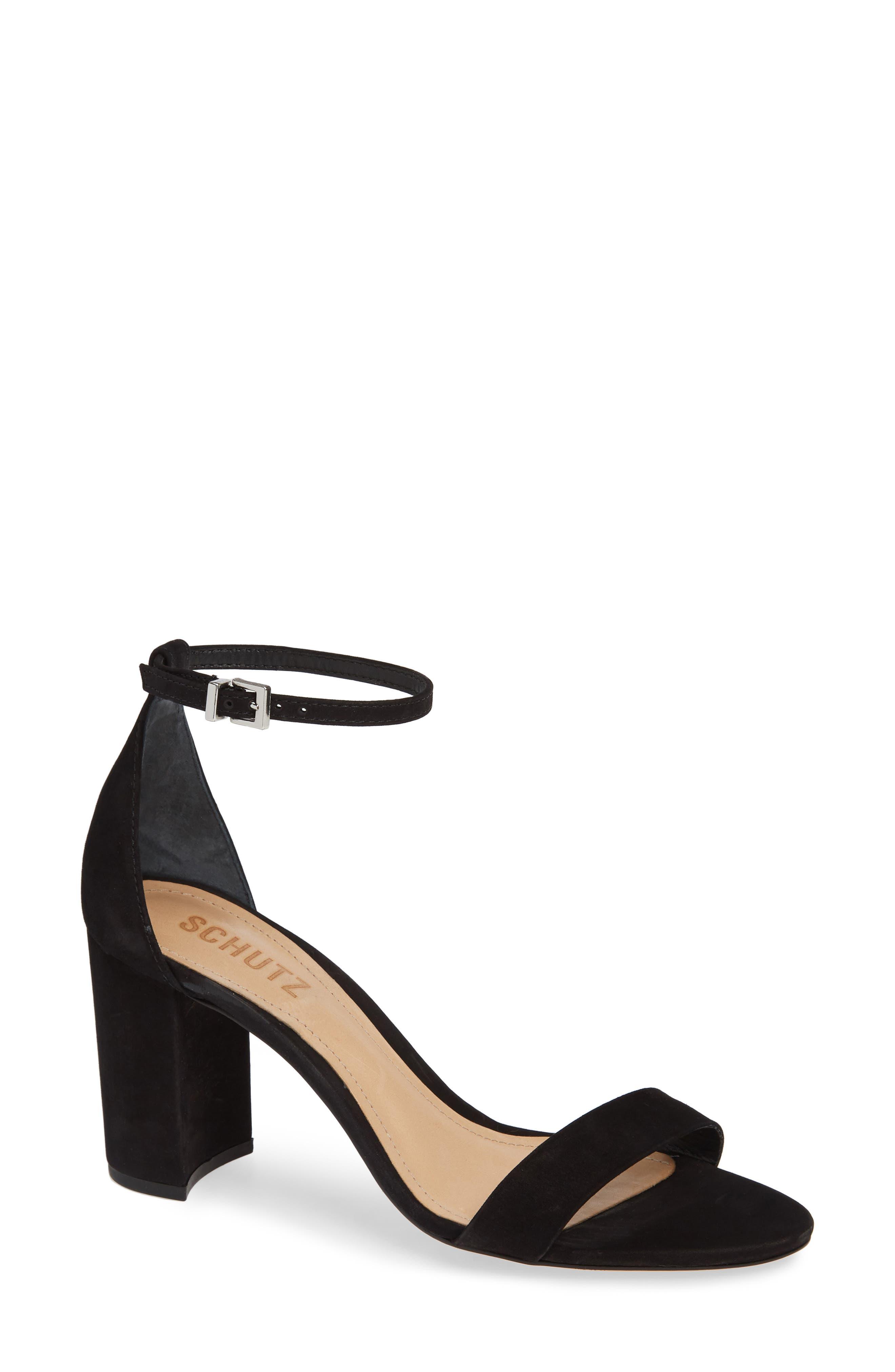 Anna Lee Ankle Strap Sandal,                         Main,                         color, BLACK NUBUCK LEATHER