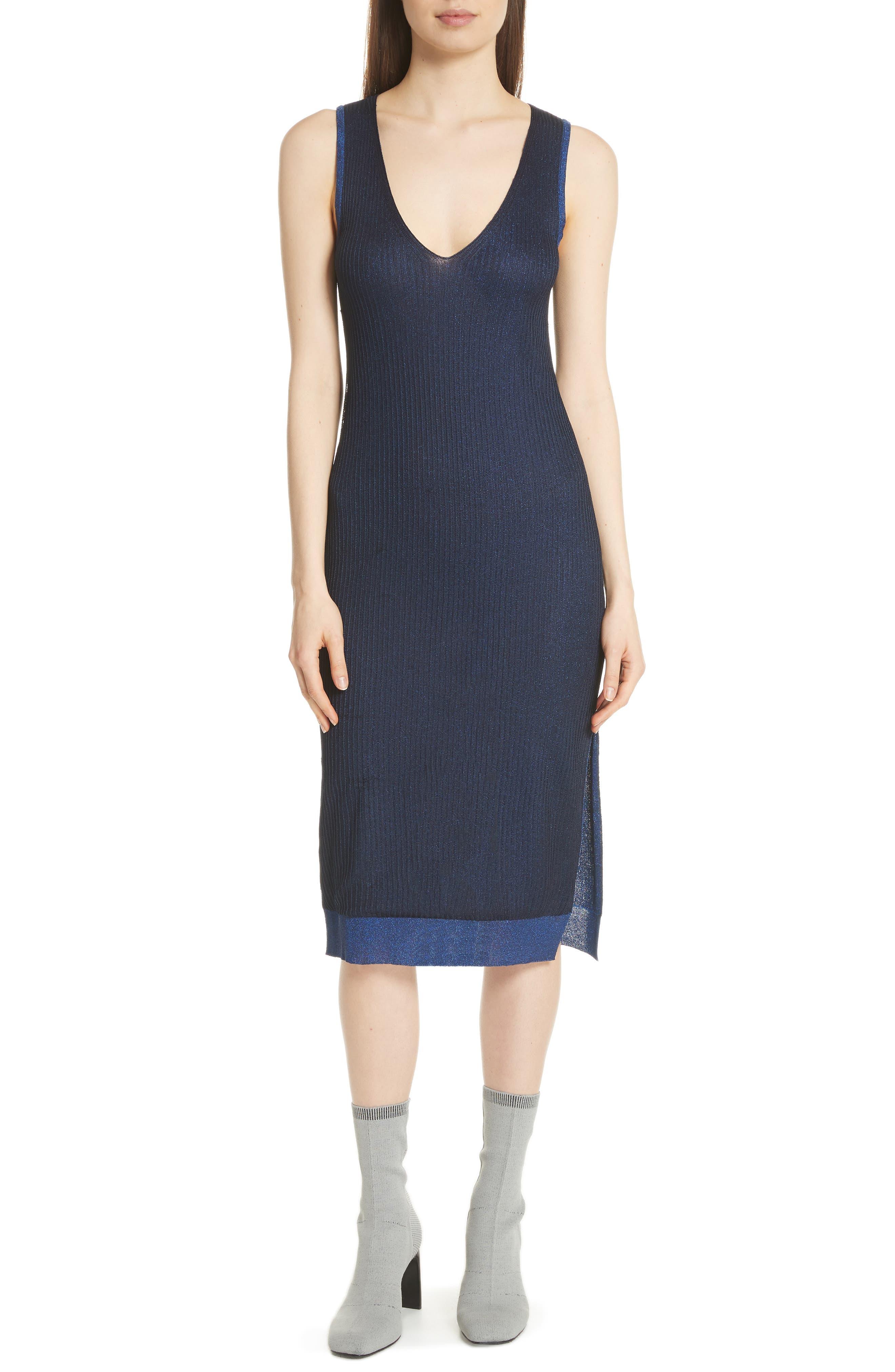 Cora Ribbed Dress,                             Main thumbnail 1, color,                             NAVY/ BLUE