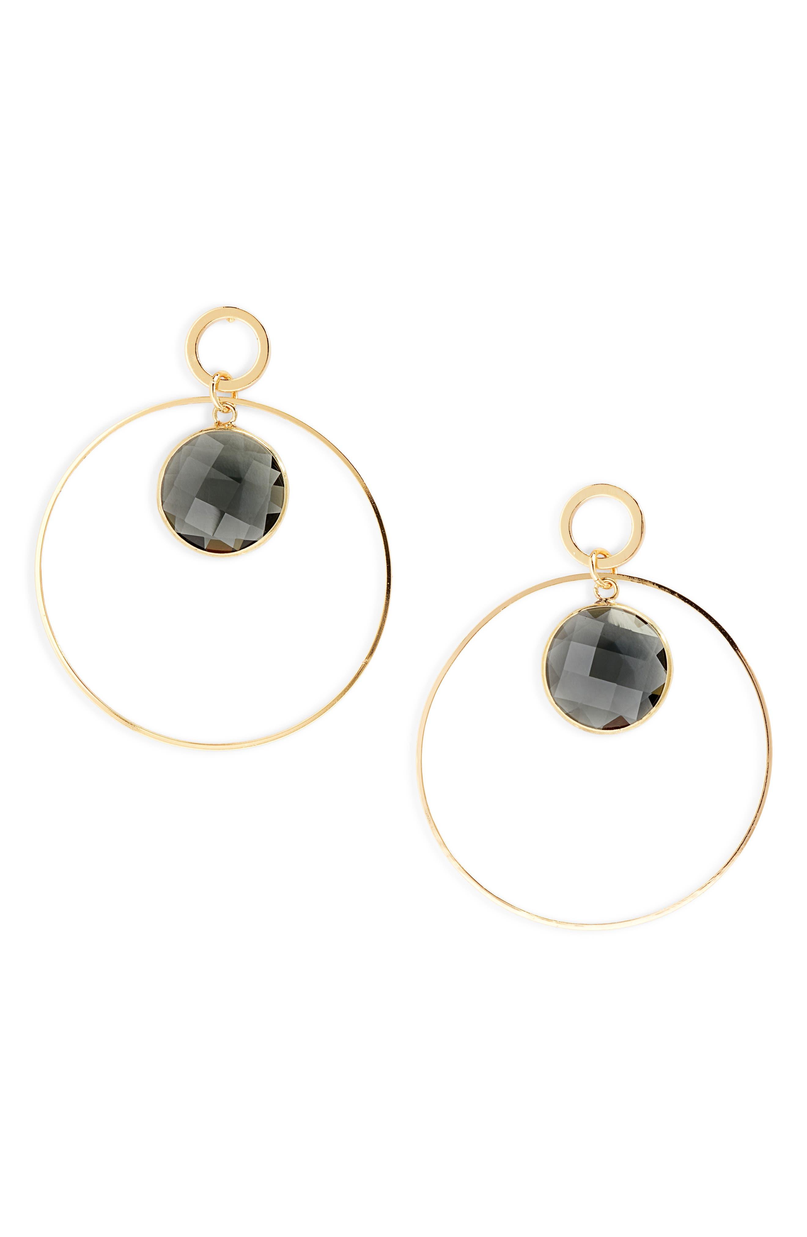 ELISE M. Crystal Hoop Earrings in Gold/ Grey