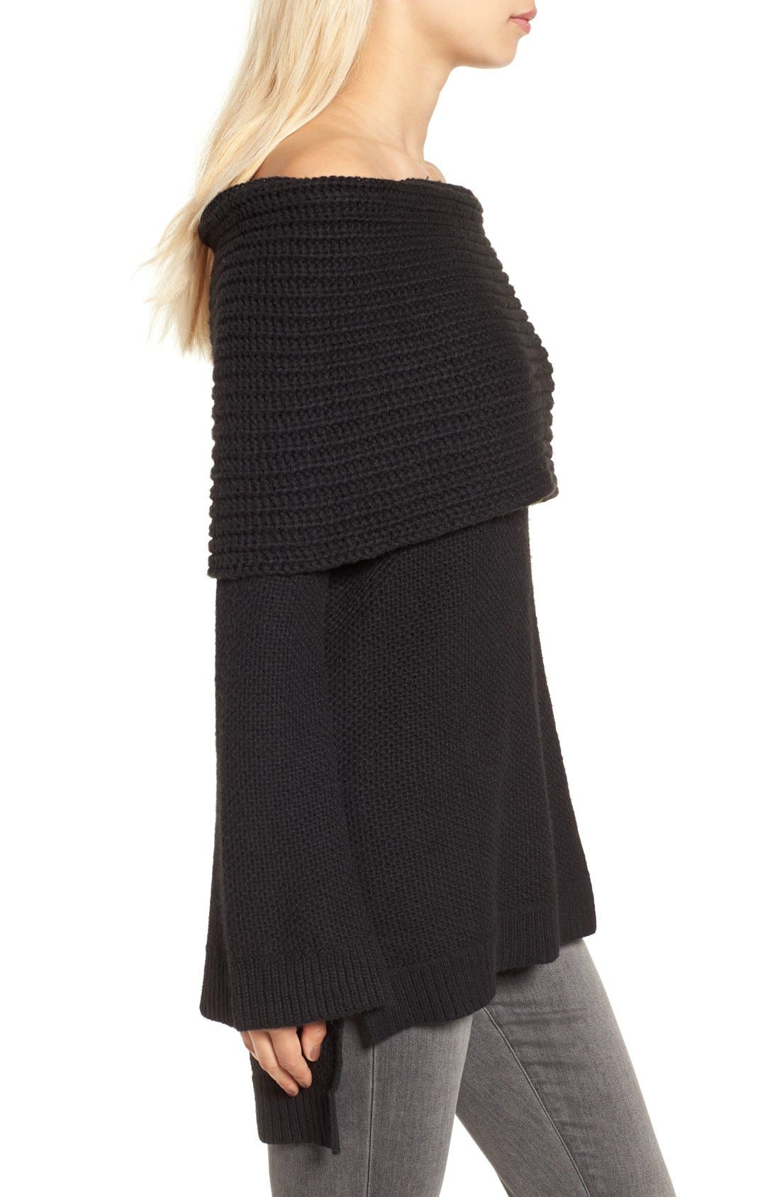 Cowl Off the Shoulder Sweater,                             Alternate thumbnail 3, color,                             001