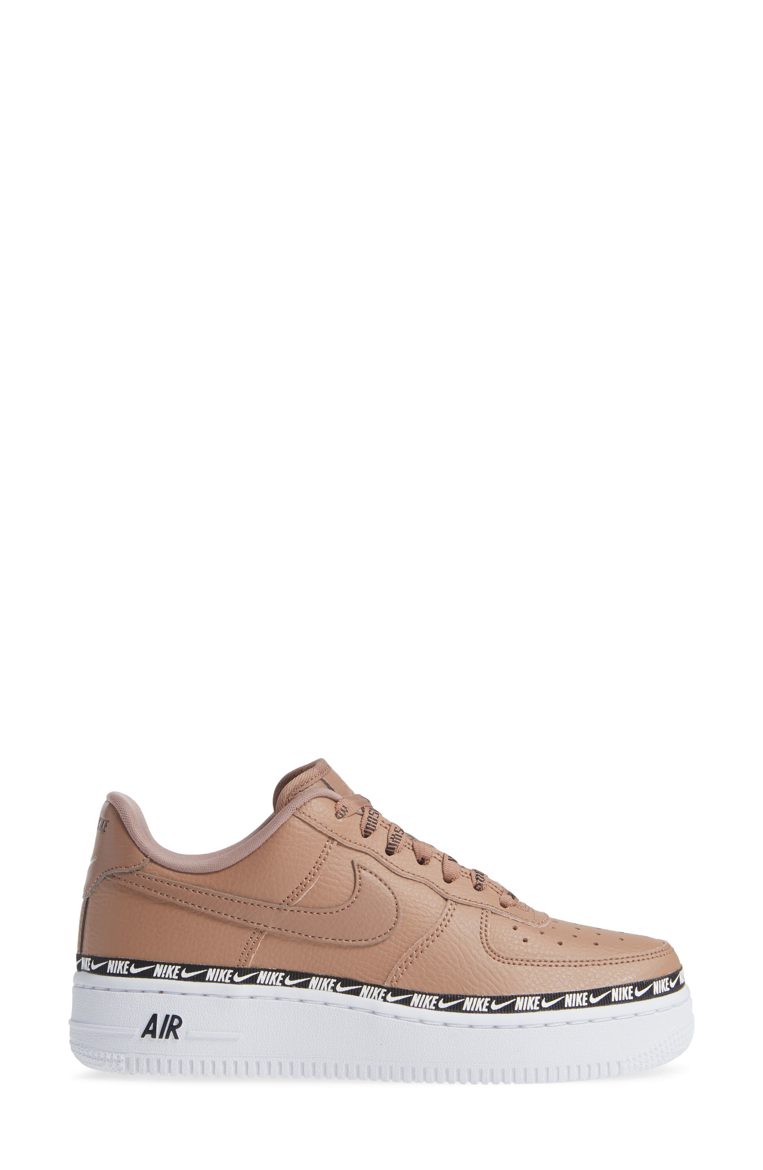 Air Force 1 '07 SE Premium Sneaker,                             Alternate thumbnail 3, color,                             DESERT DUST/ BLACK/ WHITE