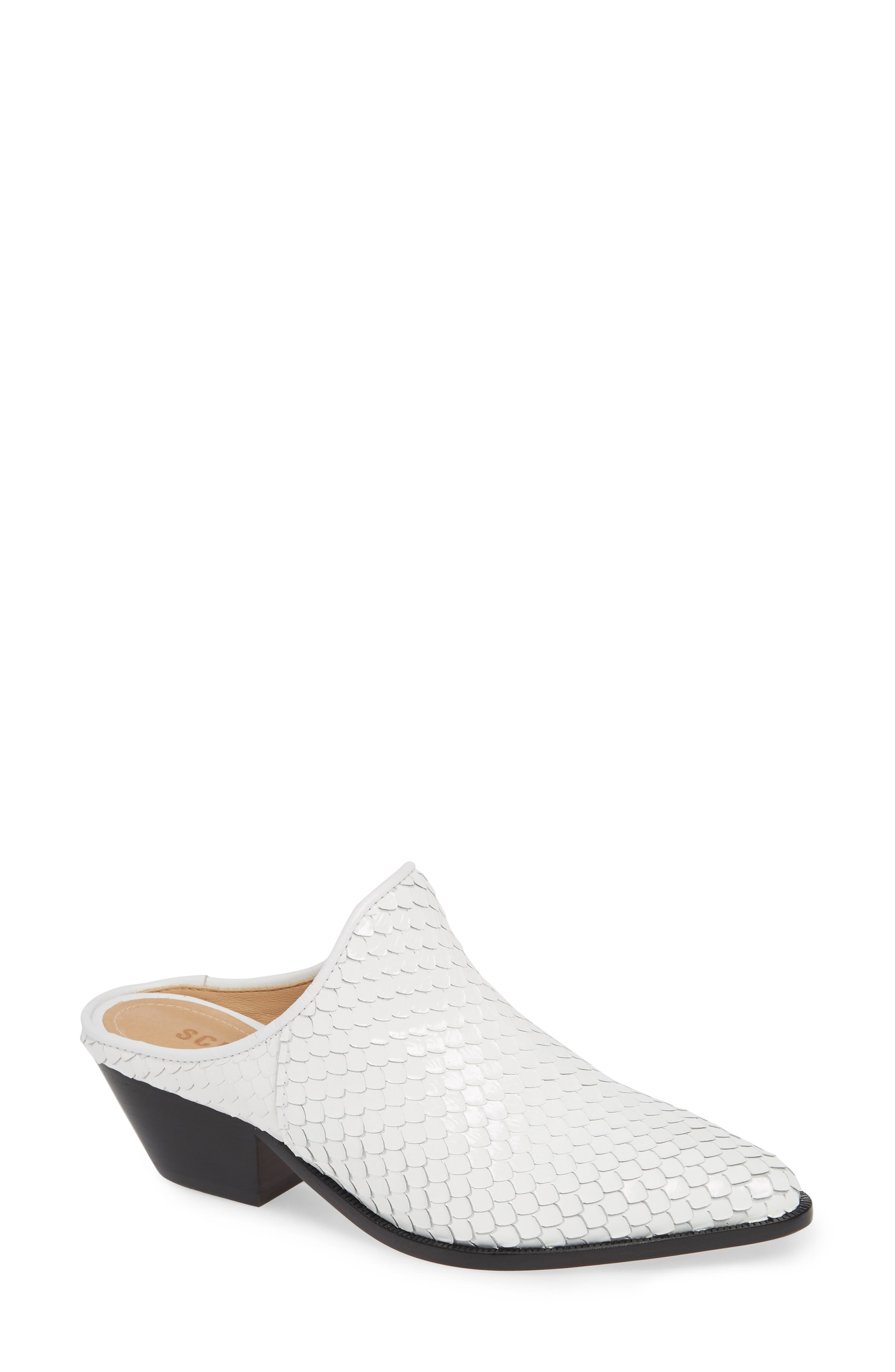 Leanny Mule,                             Main thumbnail 1, color,                             WHITE LEATHER