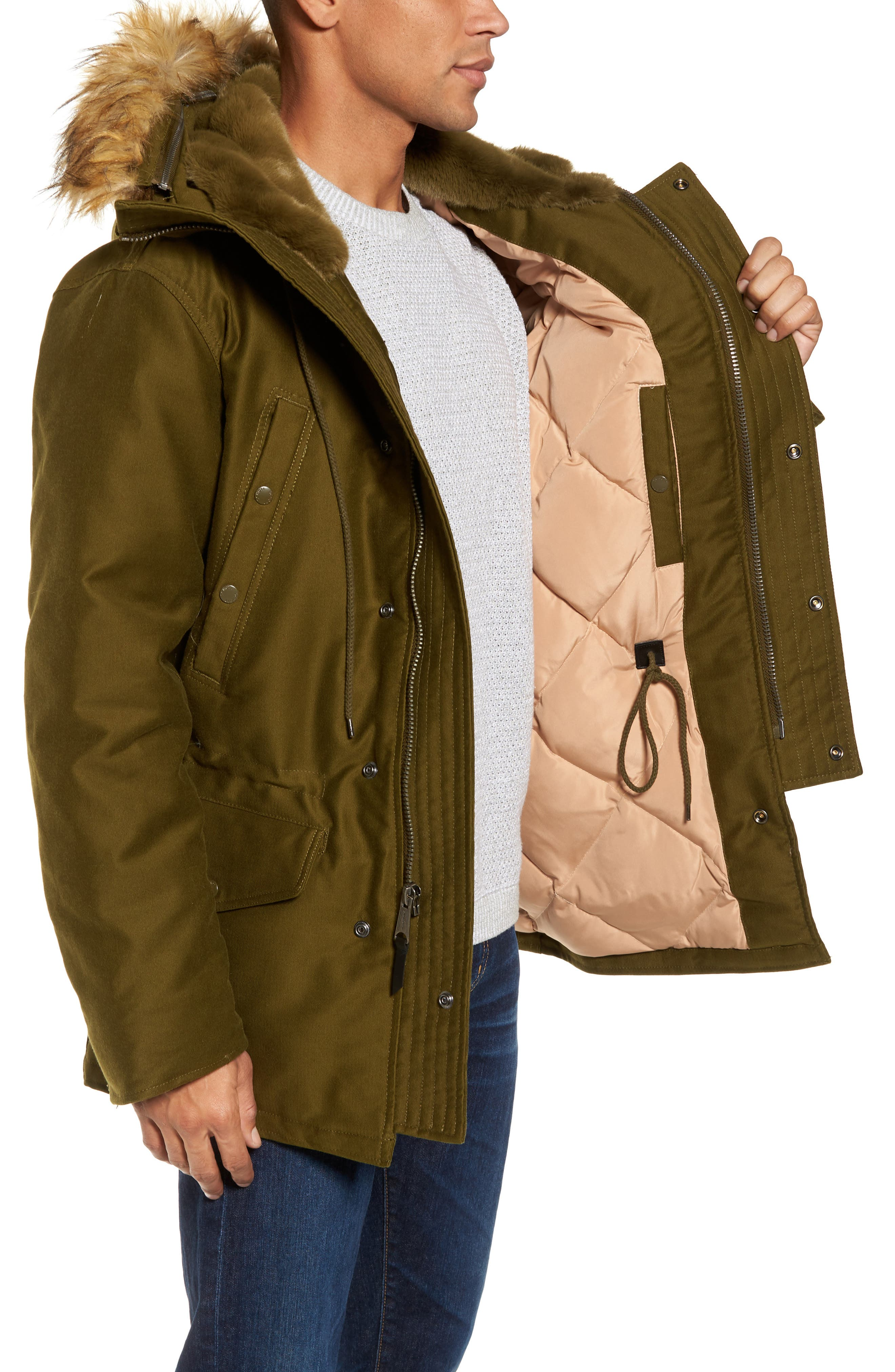 Bedford Corduroy Goose Down Jacket with Faux Fur Trim,                             Alternate thumbnail 3, color,                             352