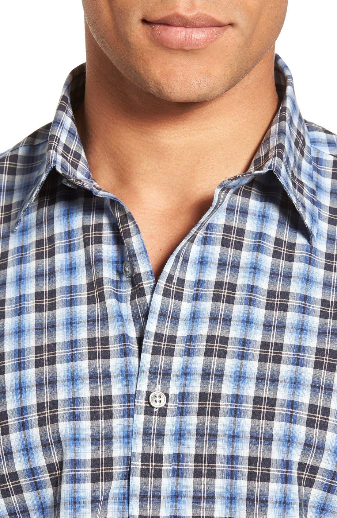 'Getafe' Regular Fit Short Sleeve Plaid Sport Shirt,                             Alternate thumbnail 5, color,                             450