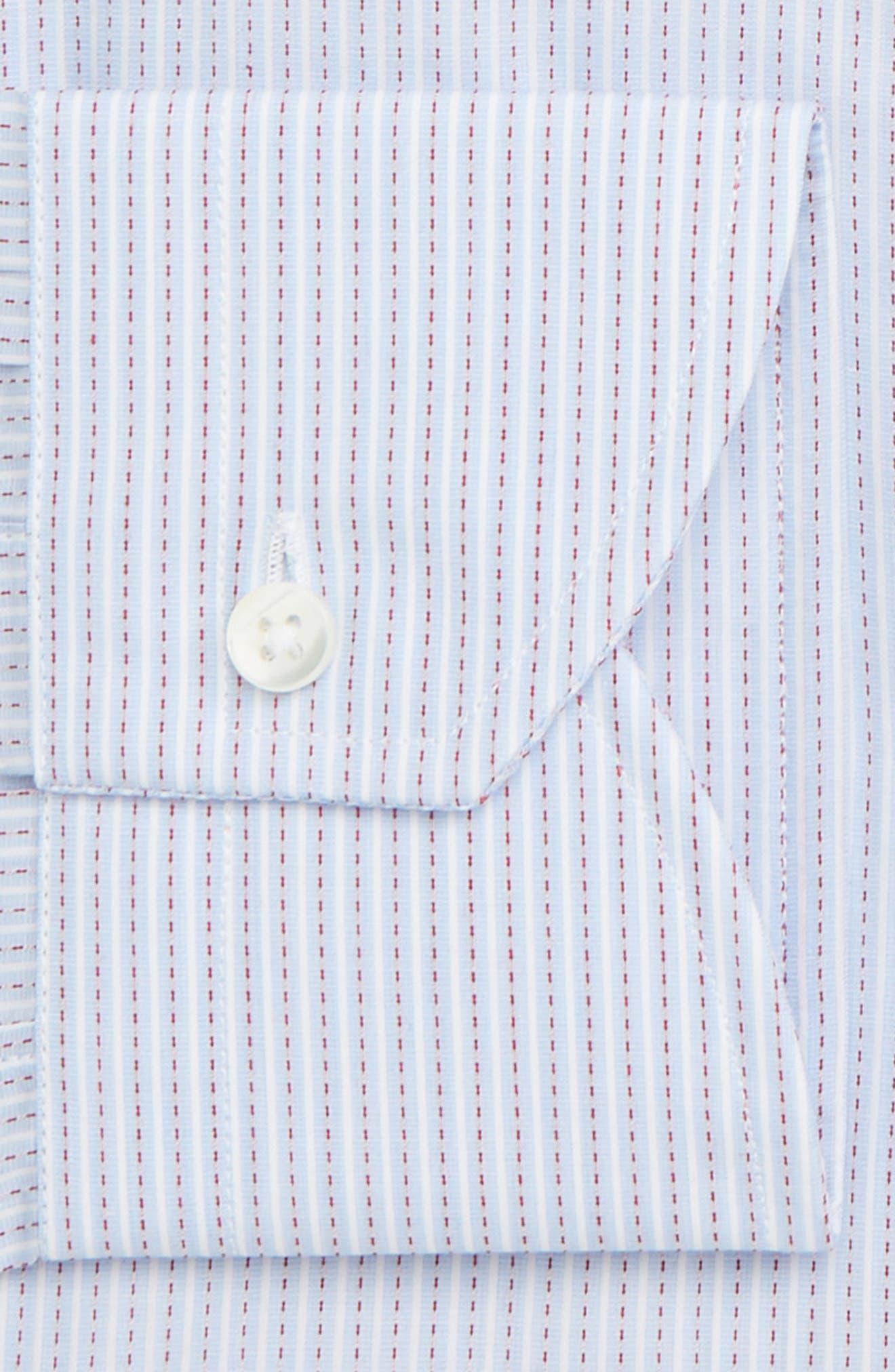 Trim Fit Stripe Dress Shirt,                             Alternate thumbnail 7, color,                             MED BLUE