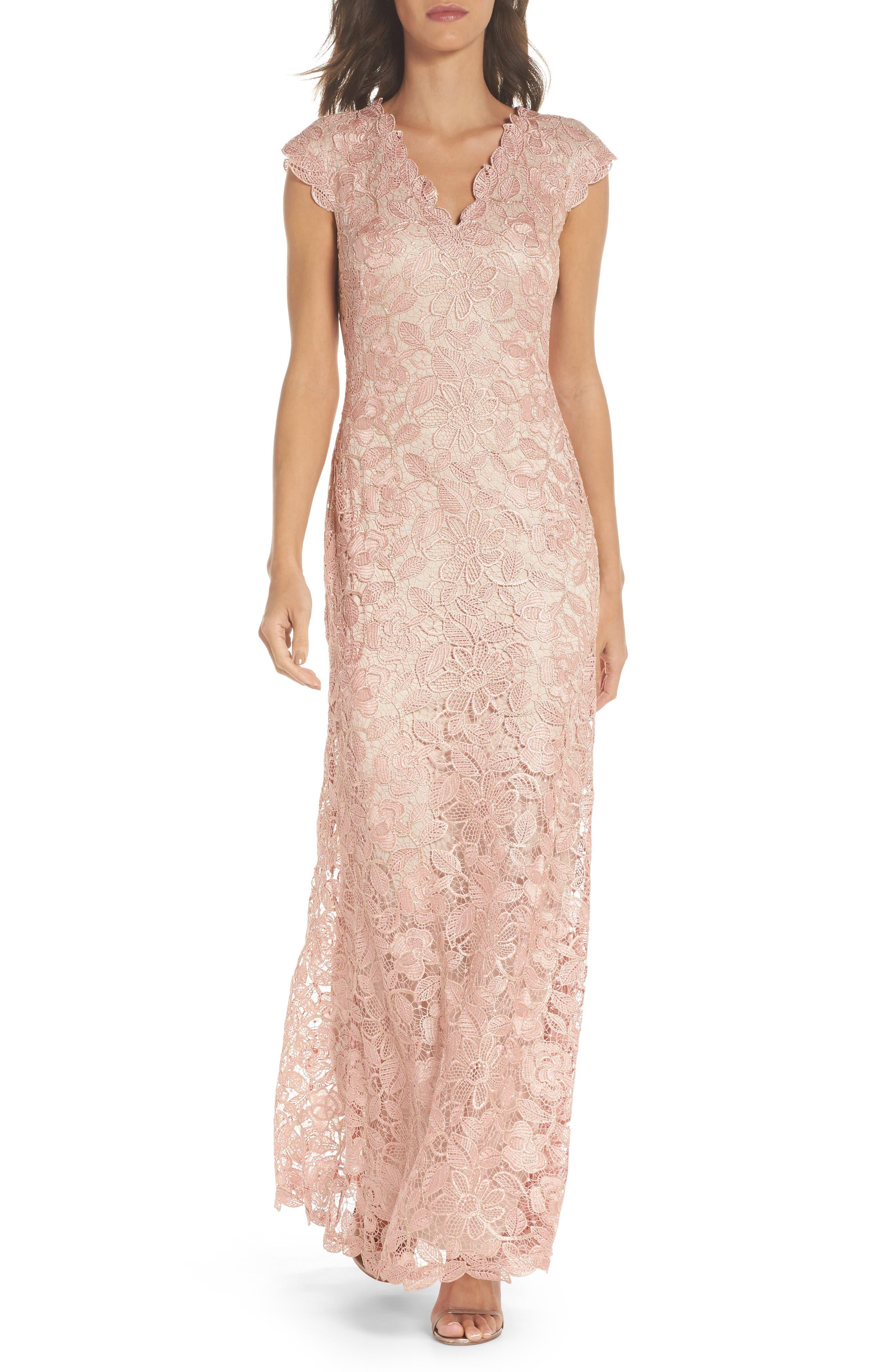 Frankie Lace Gown,                         Main,                         color, PETAL/ GOLD