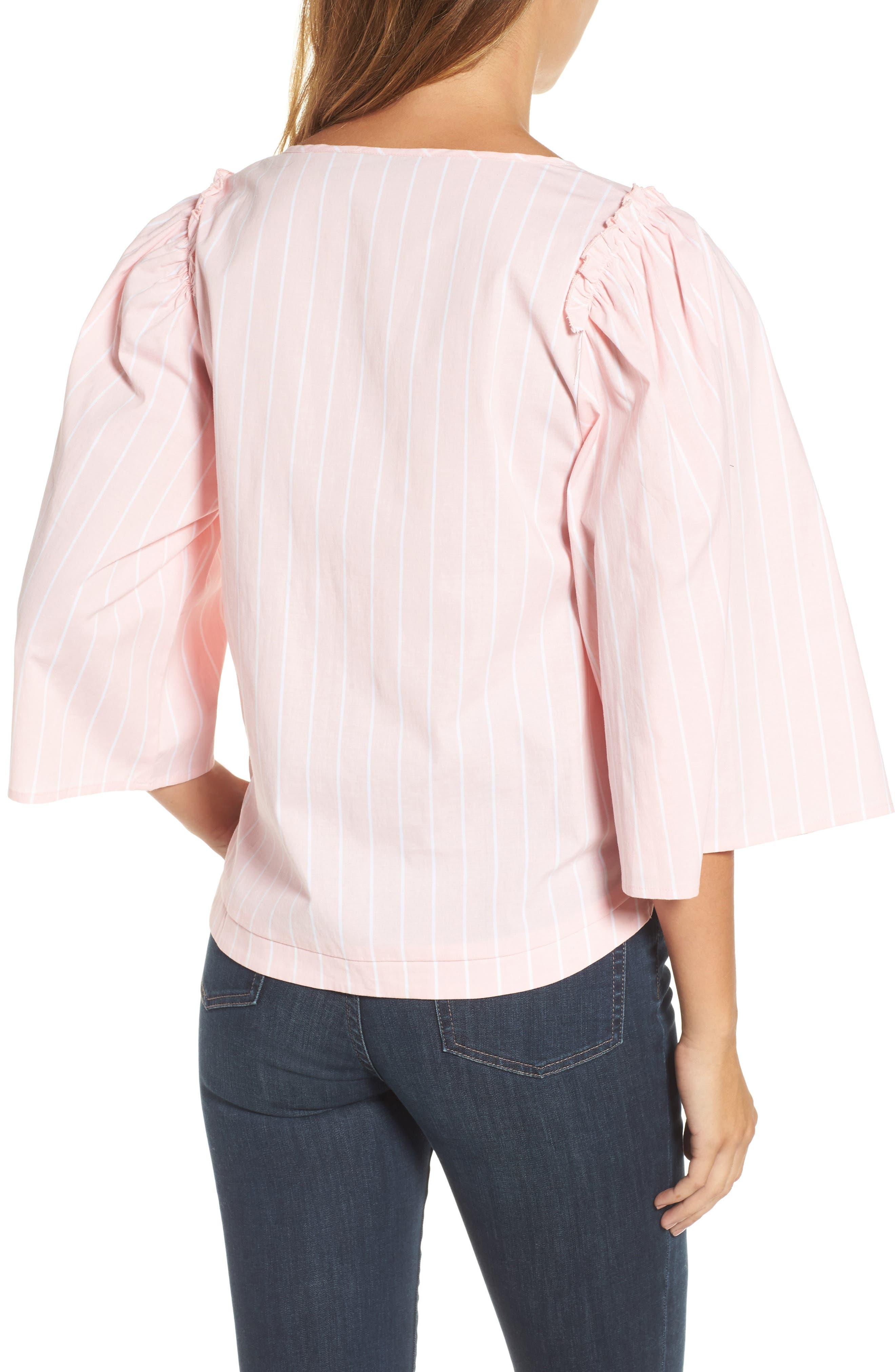 Bell Sleeve Stripe Blouse,                             Alternate thumbnail 4, color,