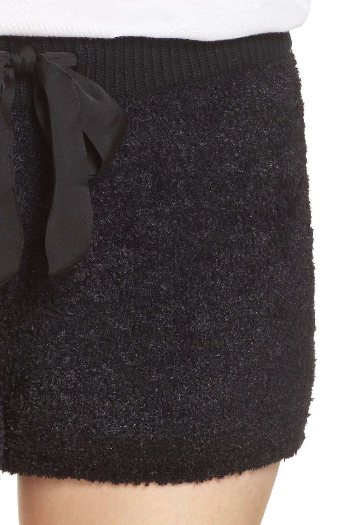 Fuzzy Lounge Shorts,                             Alternate thumbnail 4, color,                             BLACK