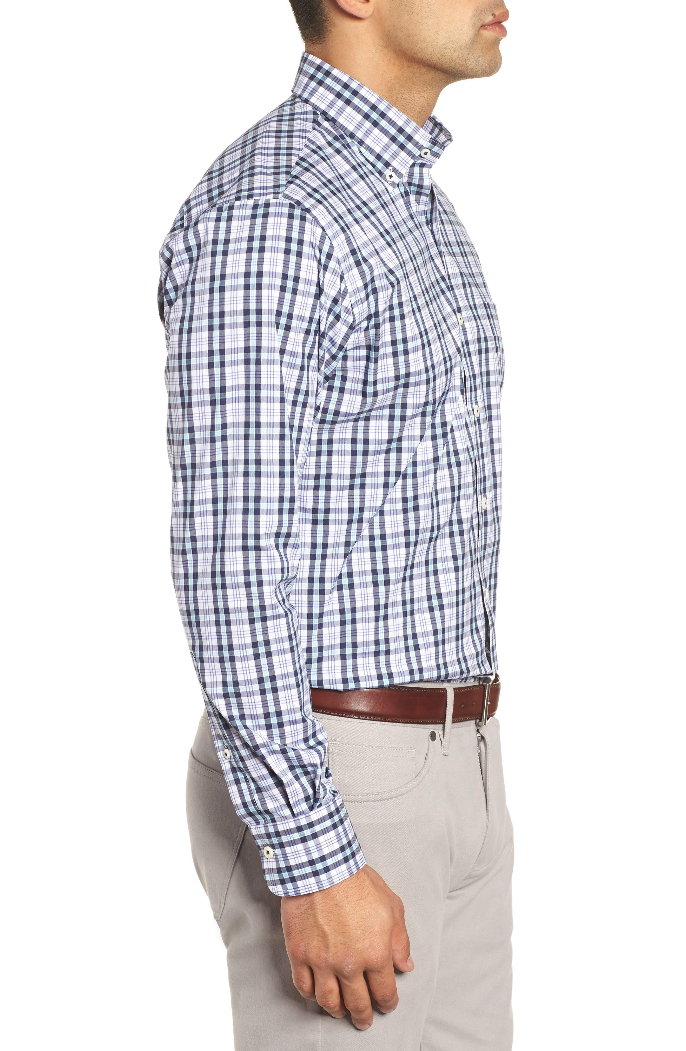 Moritz Check Sport Shirt,                             Alternate thumbnail 4, color,                             NAVY