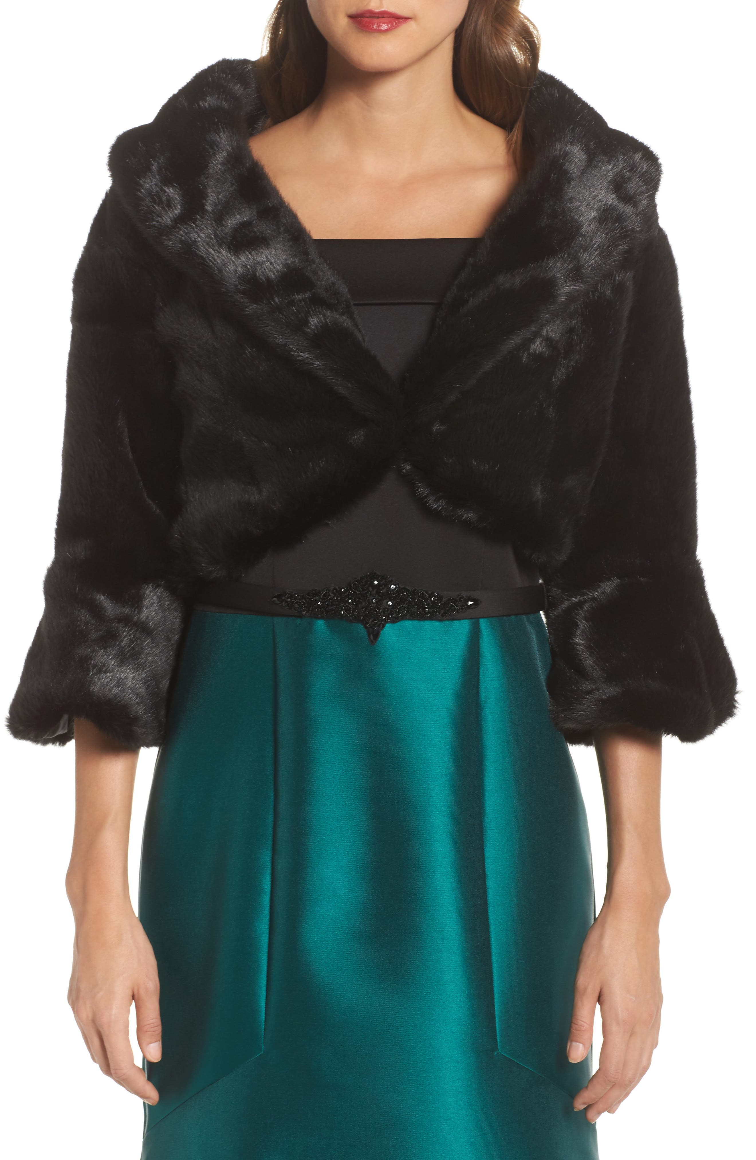 Faux Fur Jacket,                         Main,                         color, 001