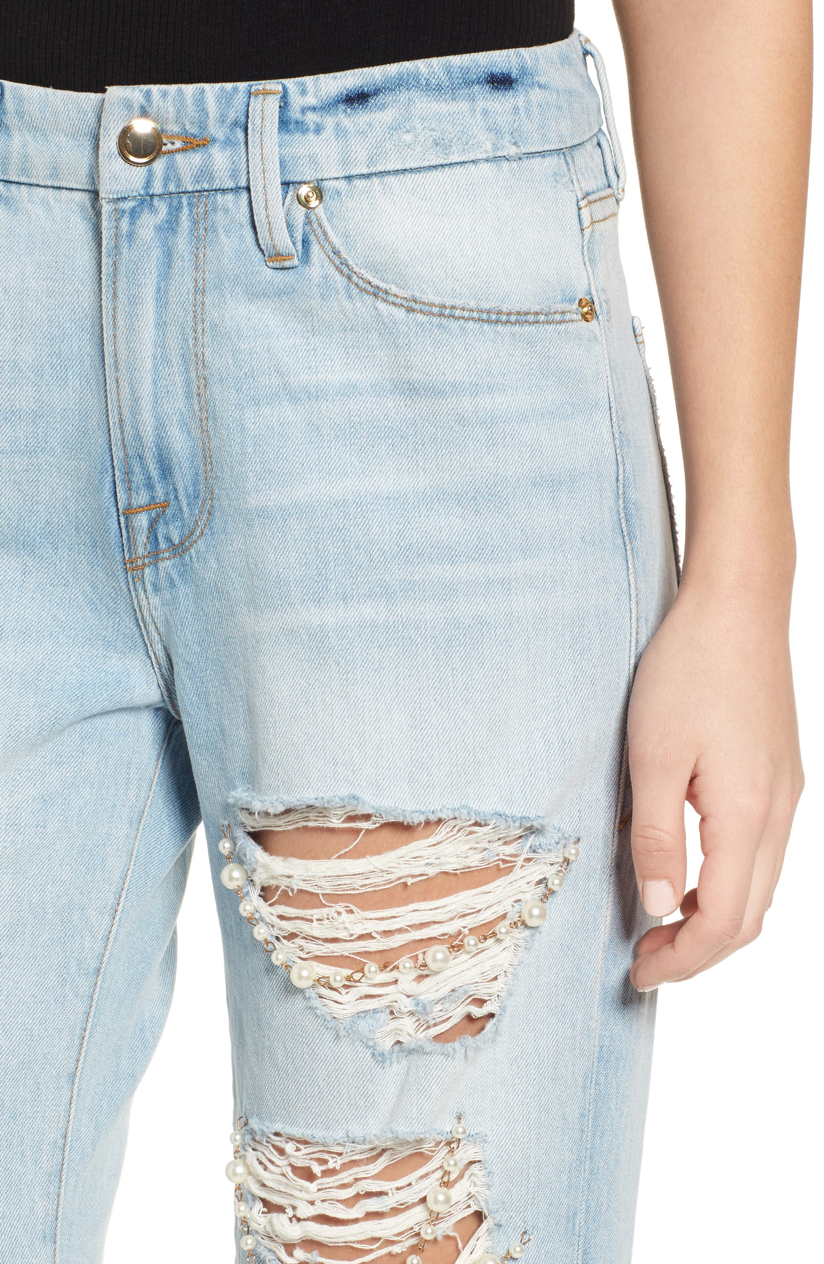 Good Straight Pearls High Waist Jeans,                             Alternate thumbnail 4, color,                             401