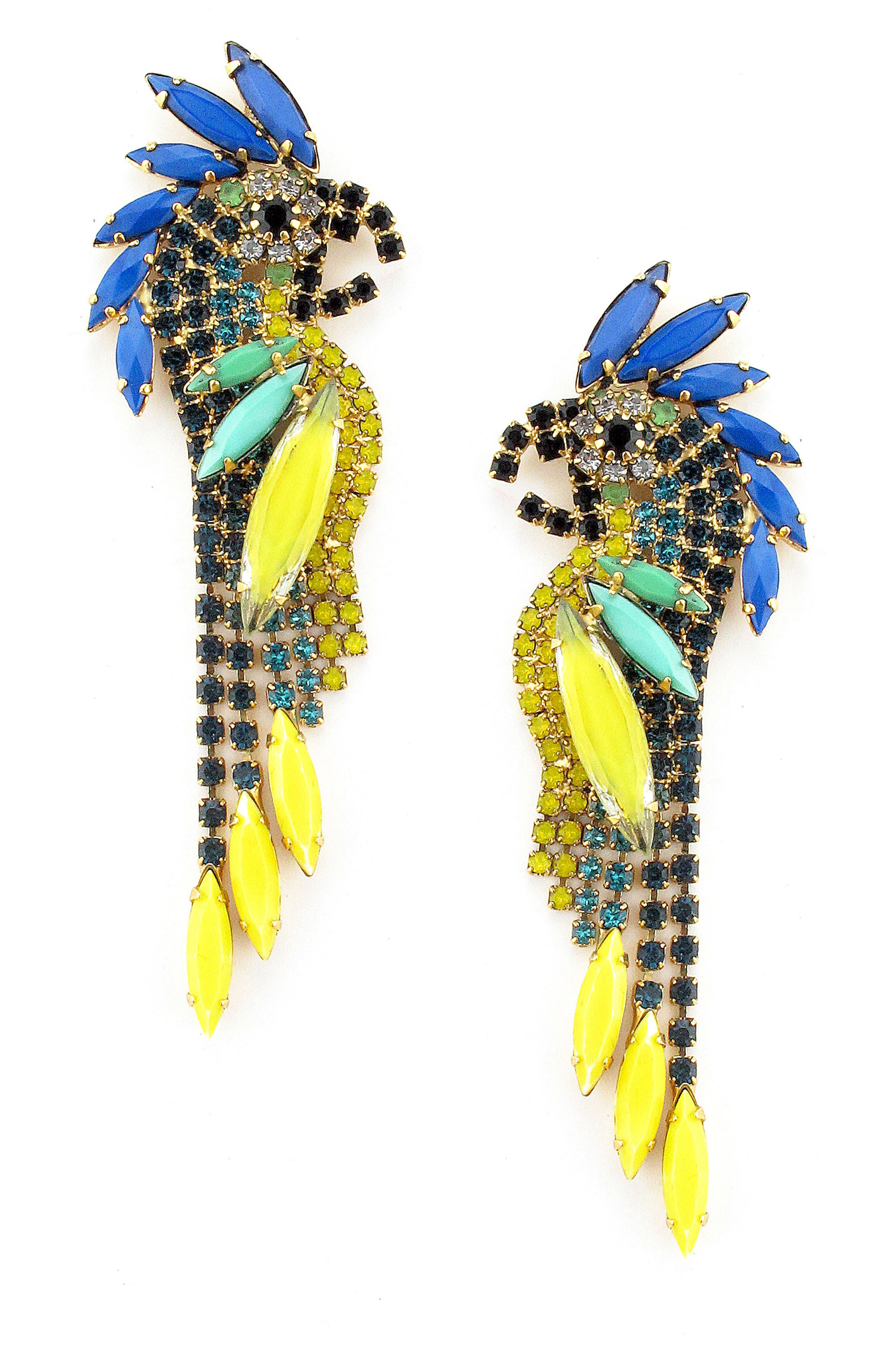 Crystal Parrot Earrings,                             Main thumbnail 1, color,                             TROPICAL