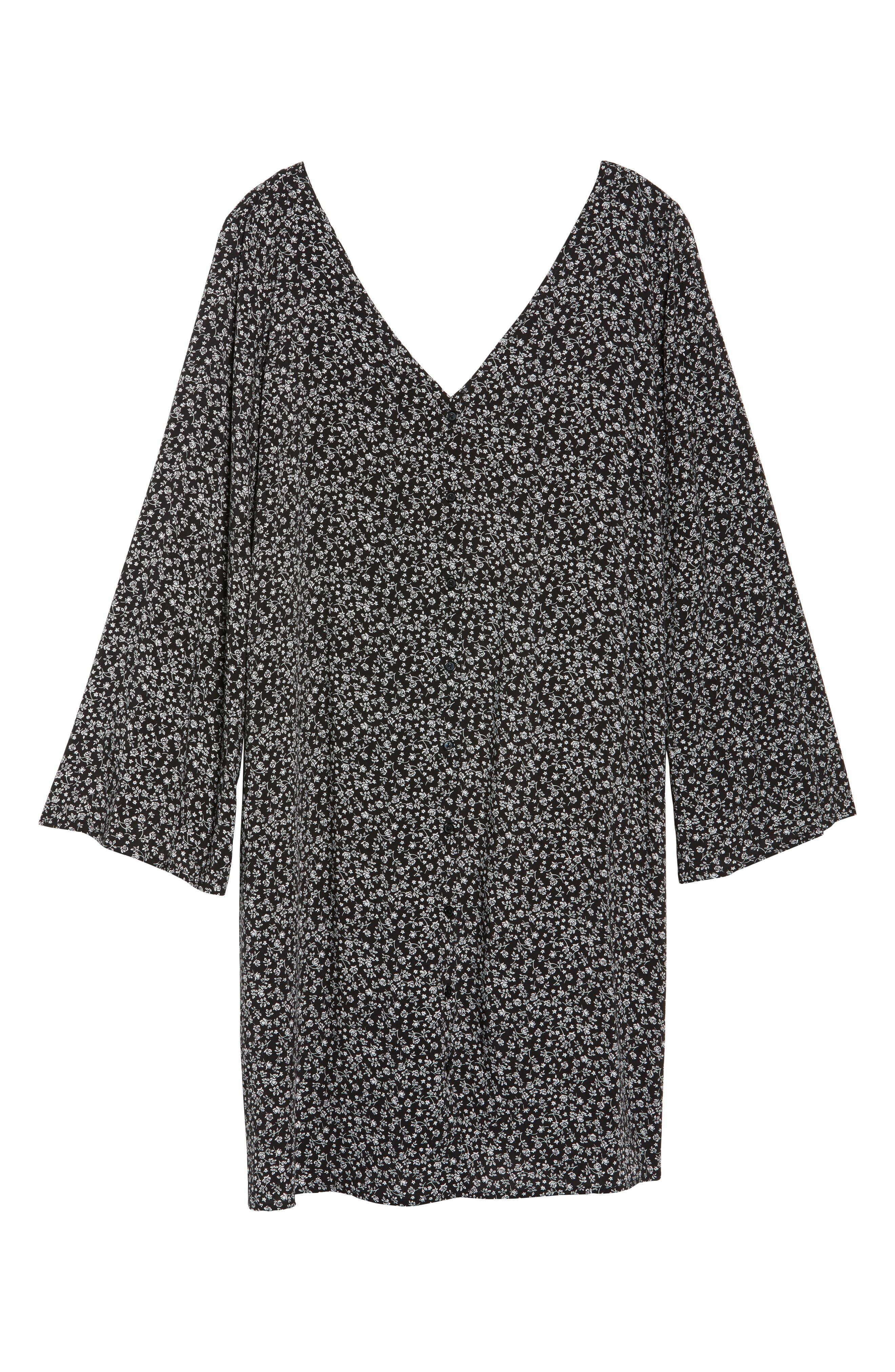 Double V-Neck Print Shift Dress,                             Alternate thumbnail 6, color,