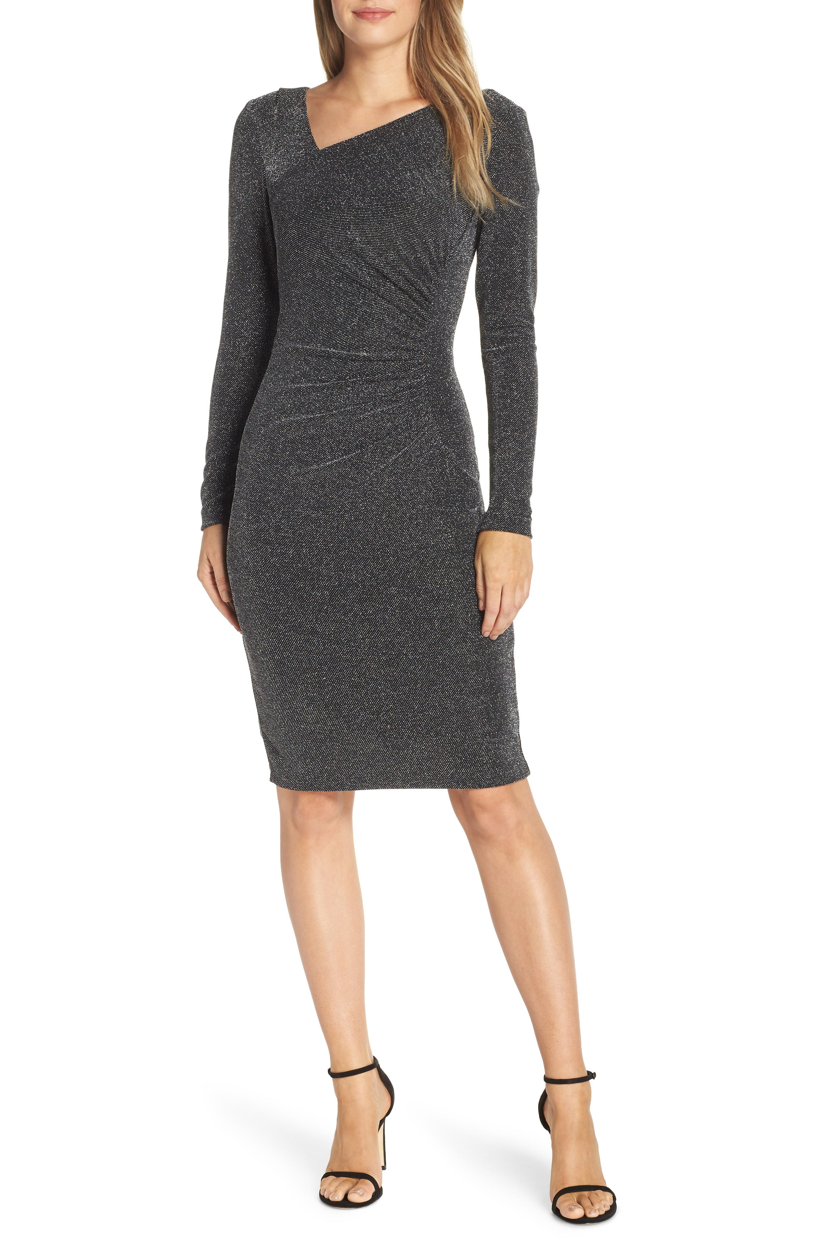Vince Camuto Asymmetrical V-Neck Metallic Cocktail Sheath