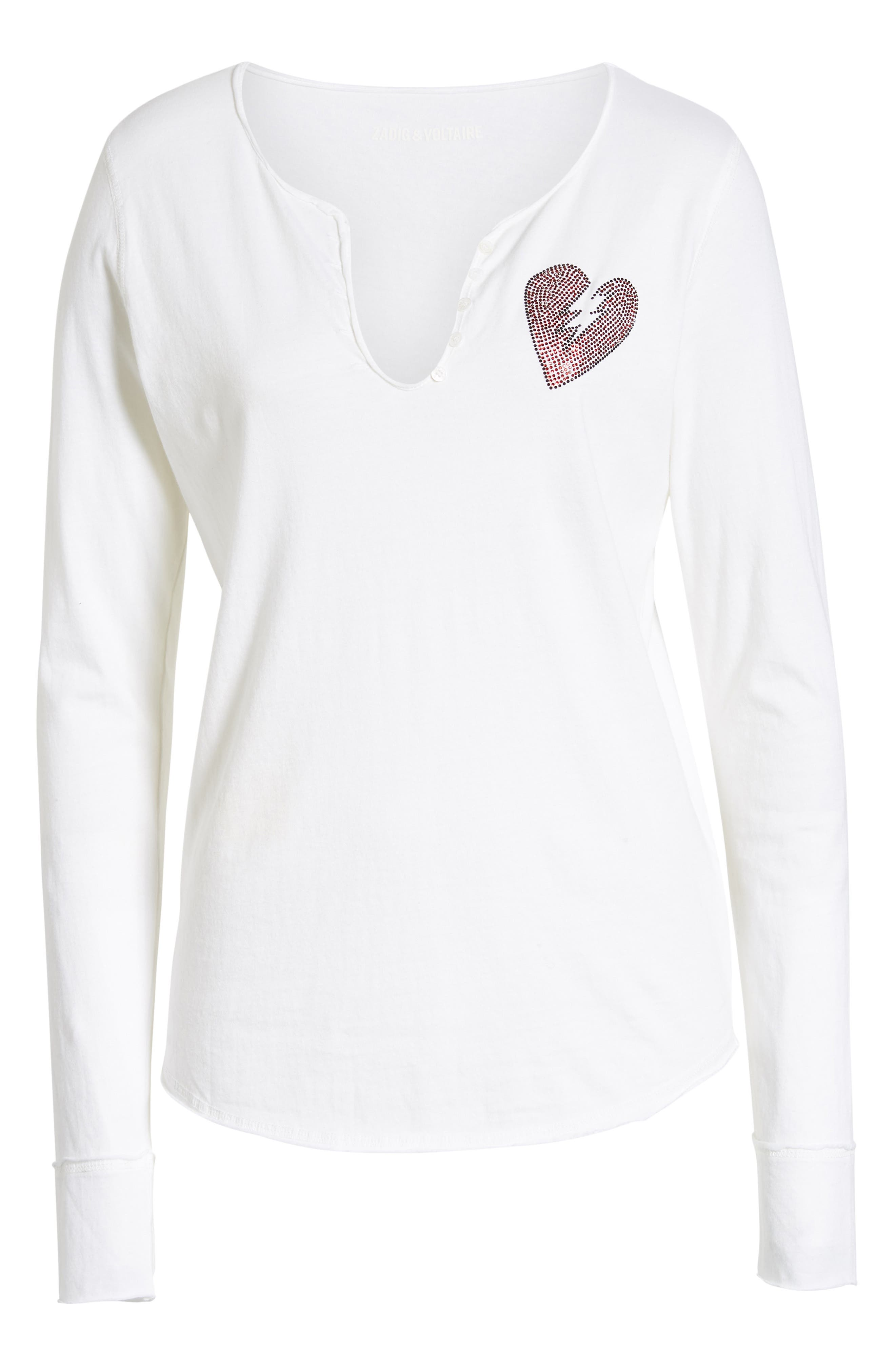 Crystal Heart Detail Split Neck Cotton Top,                             Alternate thumbnail 6, color,                             BLANC
