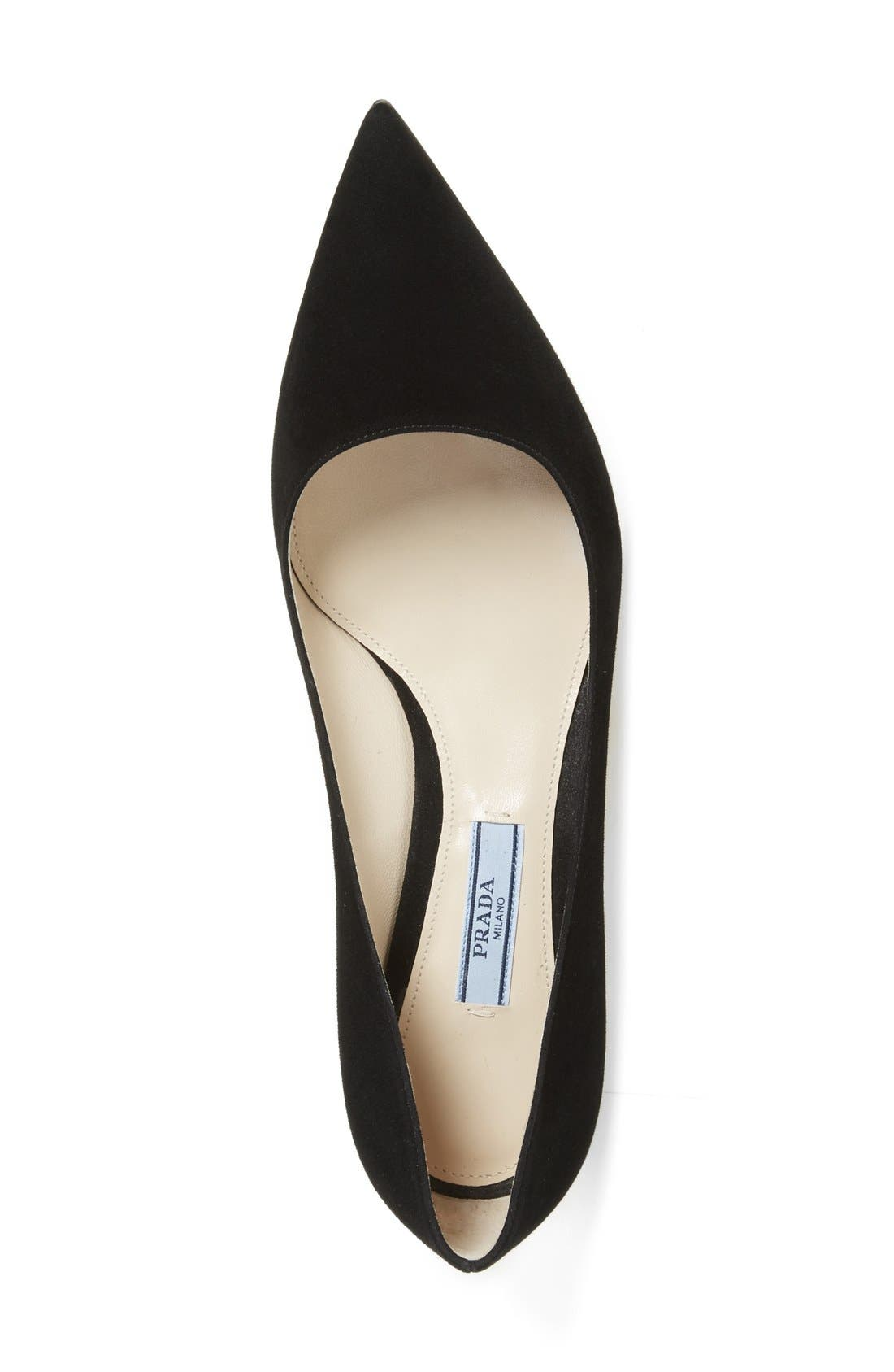 Pointy Toe Pump,                             Alternate thumbnail 5, color,                             BLACK SUEDE