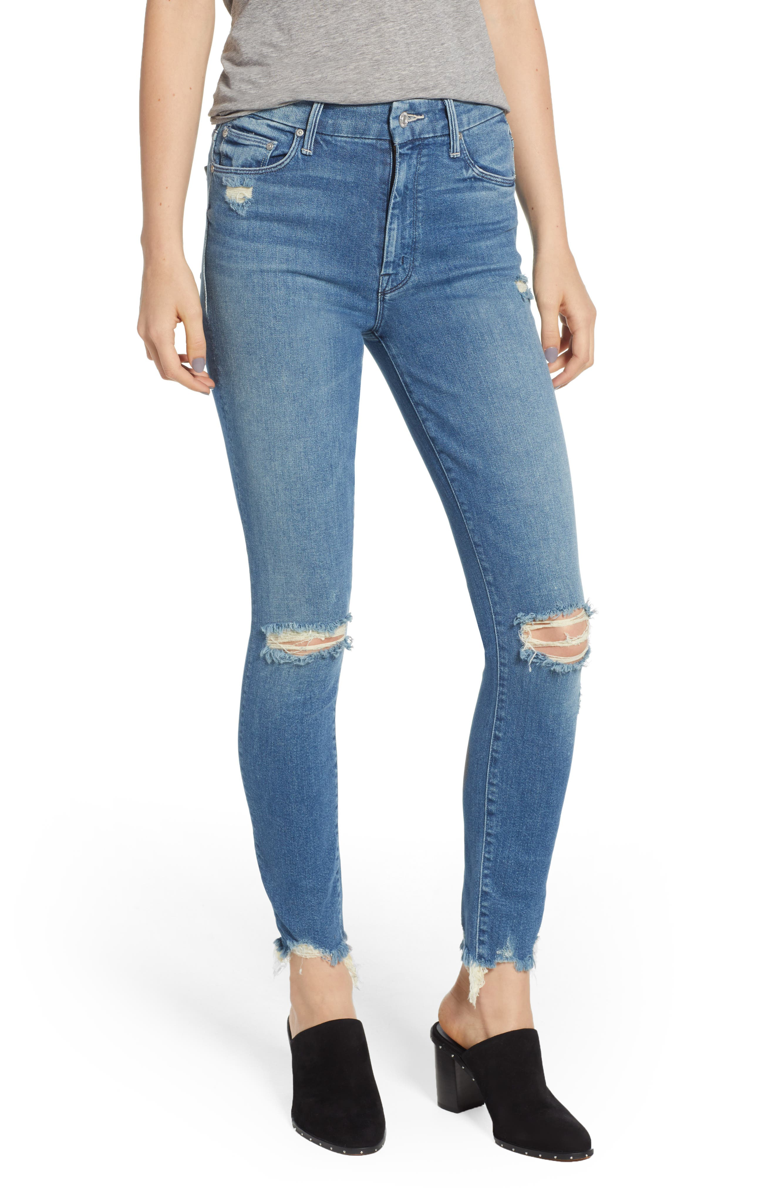 The Looker High Waist Fray Ankle Skinny Jeans,                             Main thumbnail 1, color,                             426