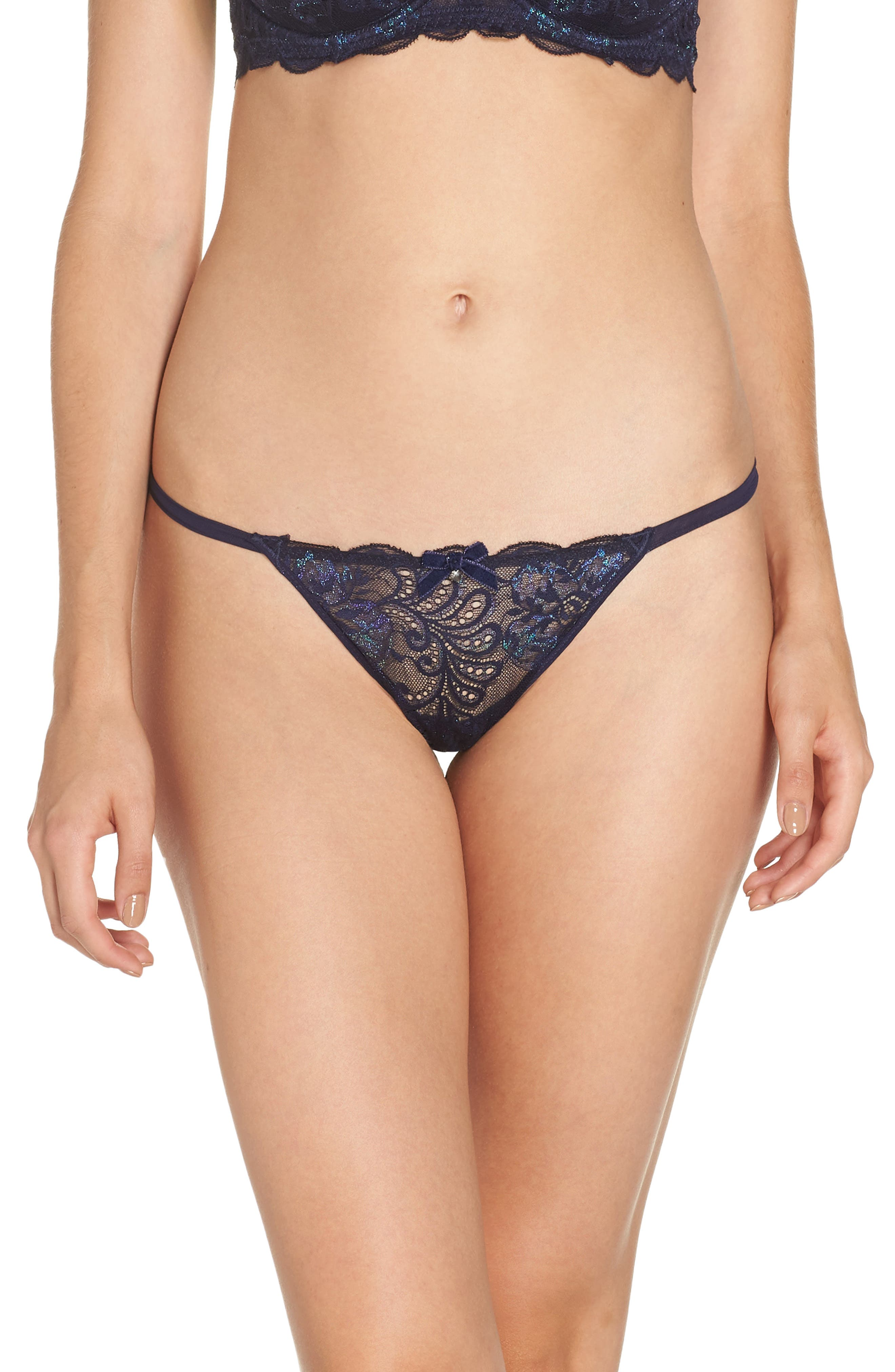 'Sophia' Lace Thong in Sapphire