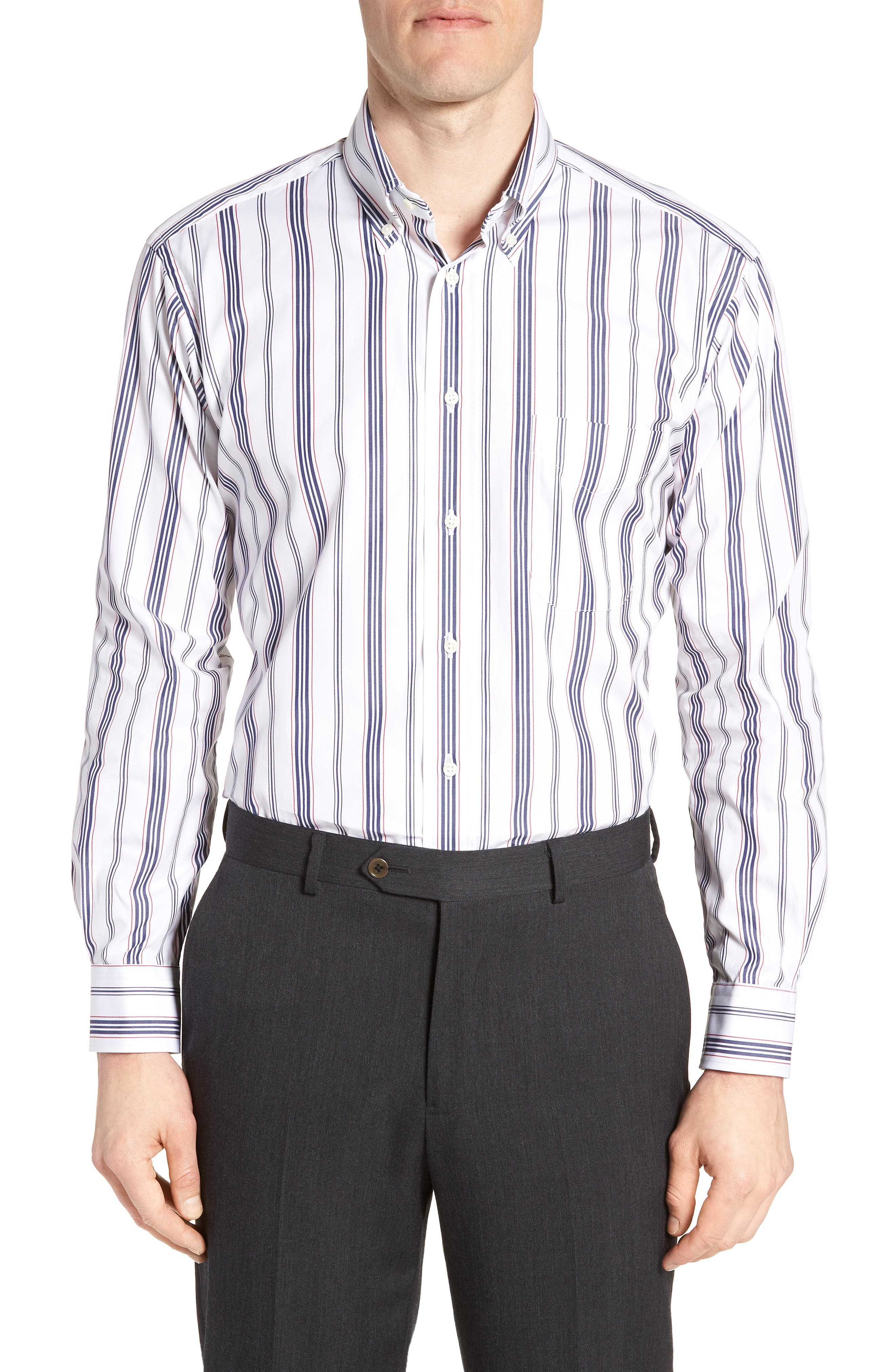 Tailored Fit Stripe Dress Shirt,                         Main,                         color, 100
