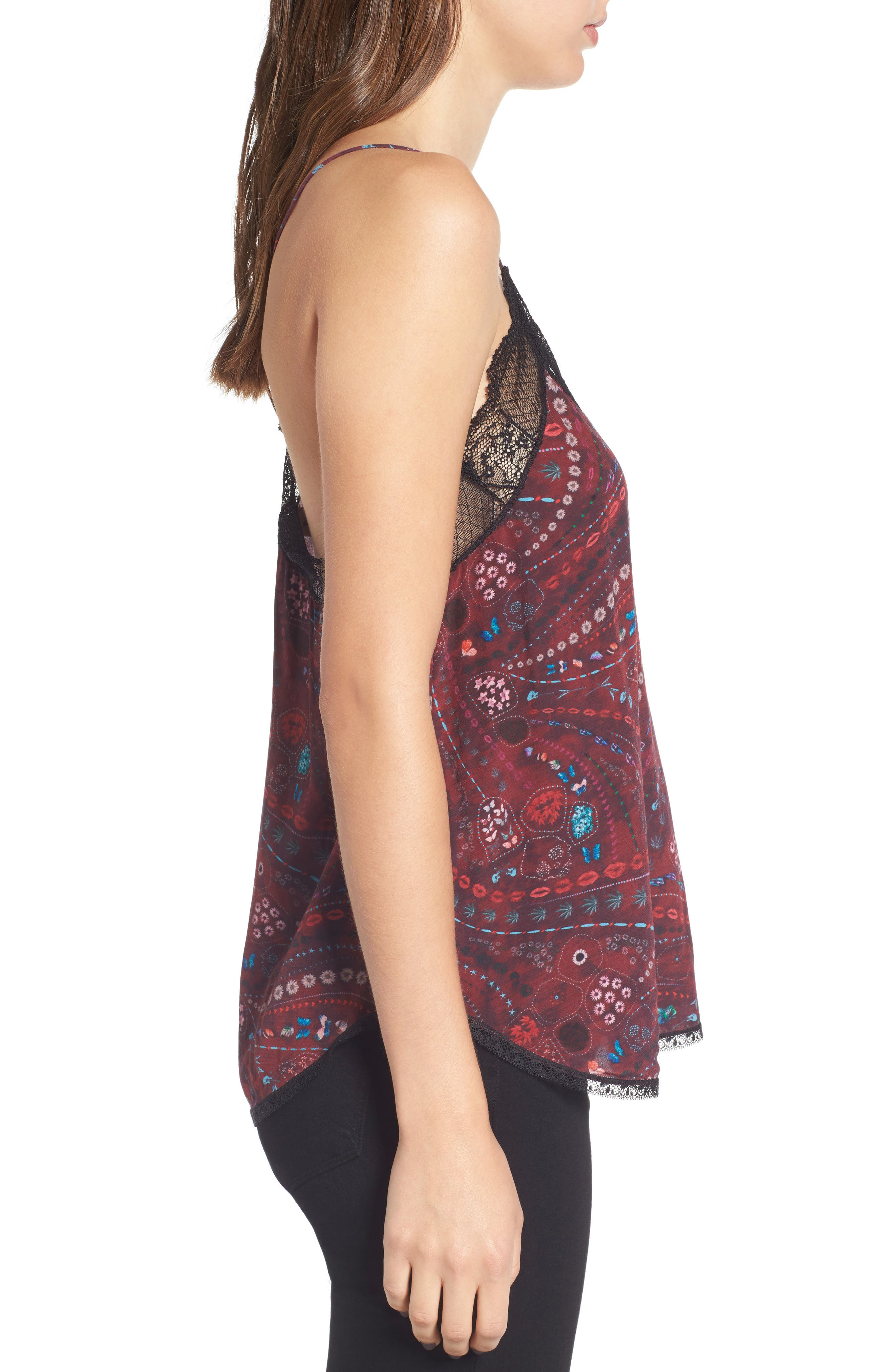 Christy Print Silk Camisole,                             Alternate thumbnail 3, color,                             600