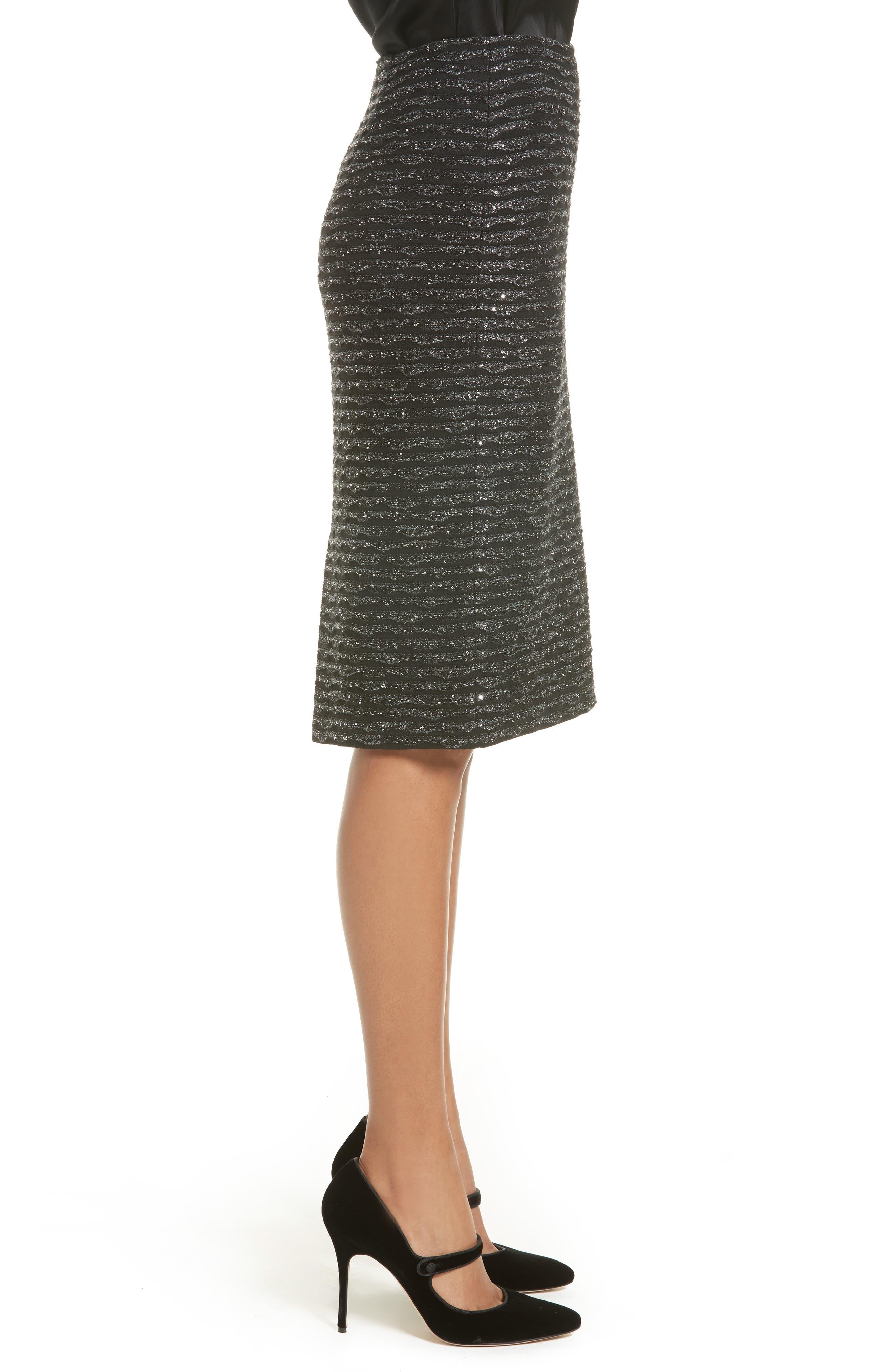 Sparkle Wave Tweed Knit Skirt,                             Alternate thumbnail 3, color,                             001