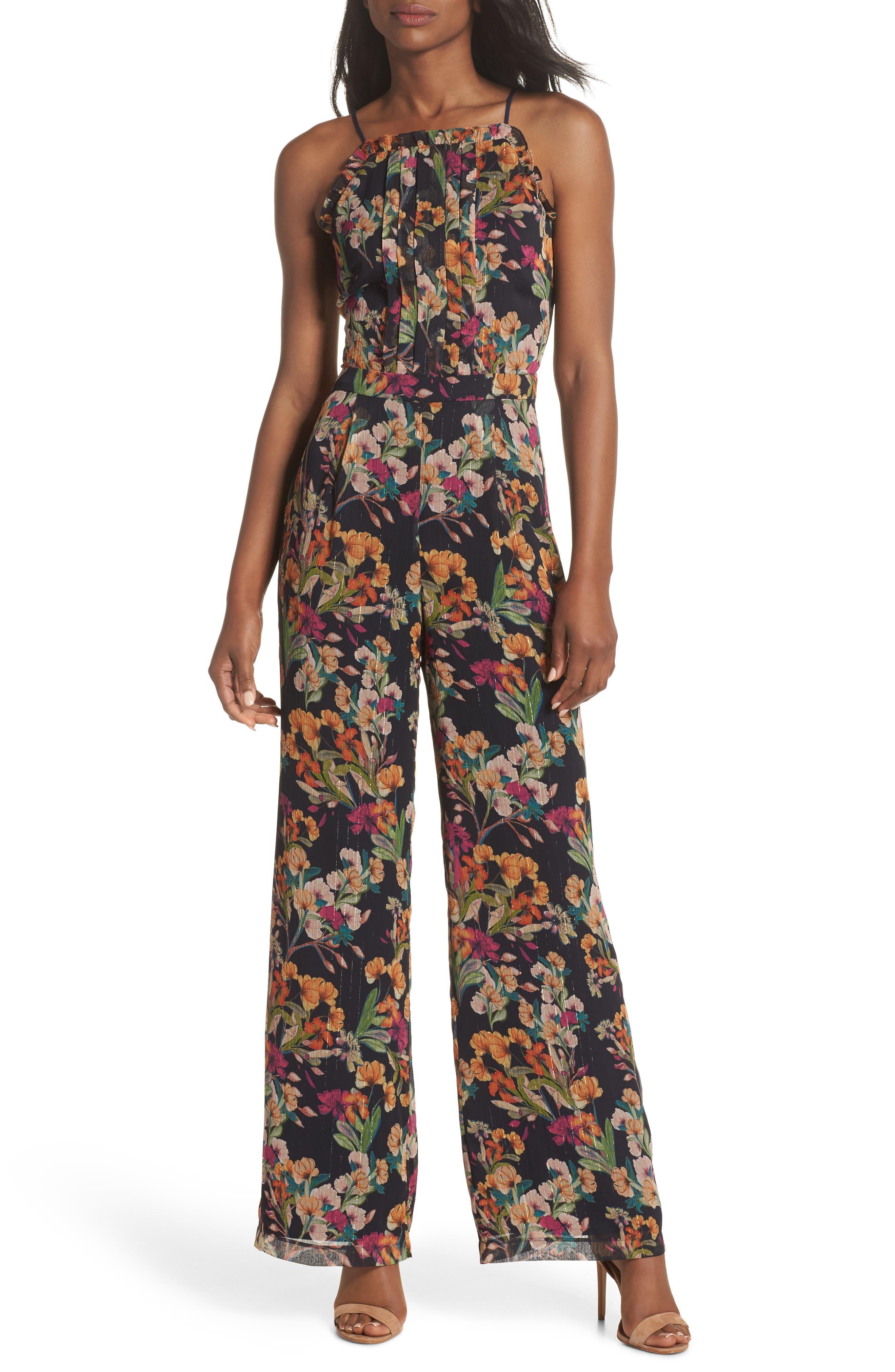 Penelope Floral Print Jumpsuit,                         Main,                         color, NAVY MULTI