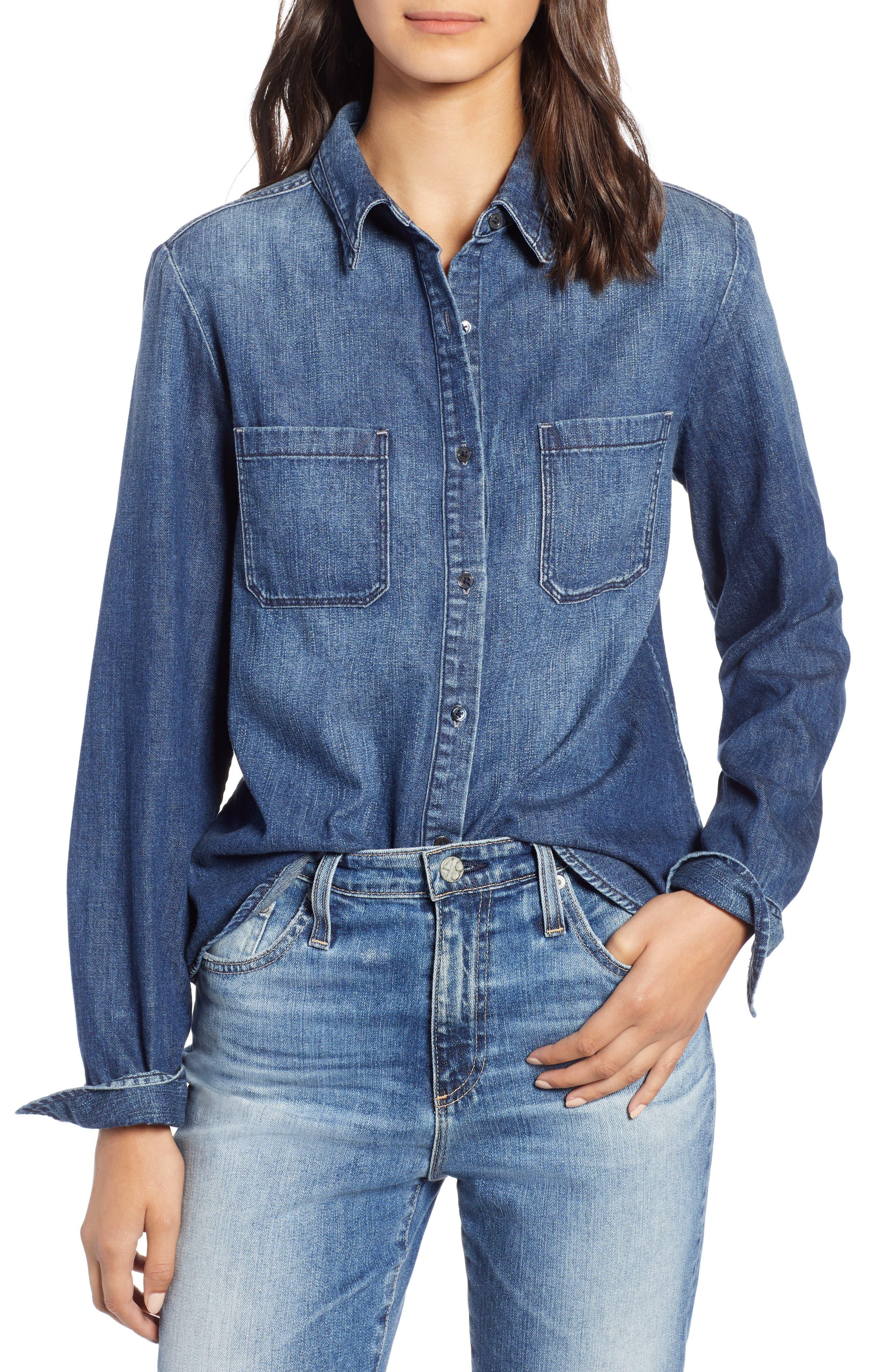 AG Selena Chambray Shirt, Main, color, 283