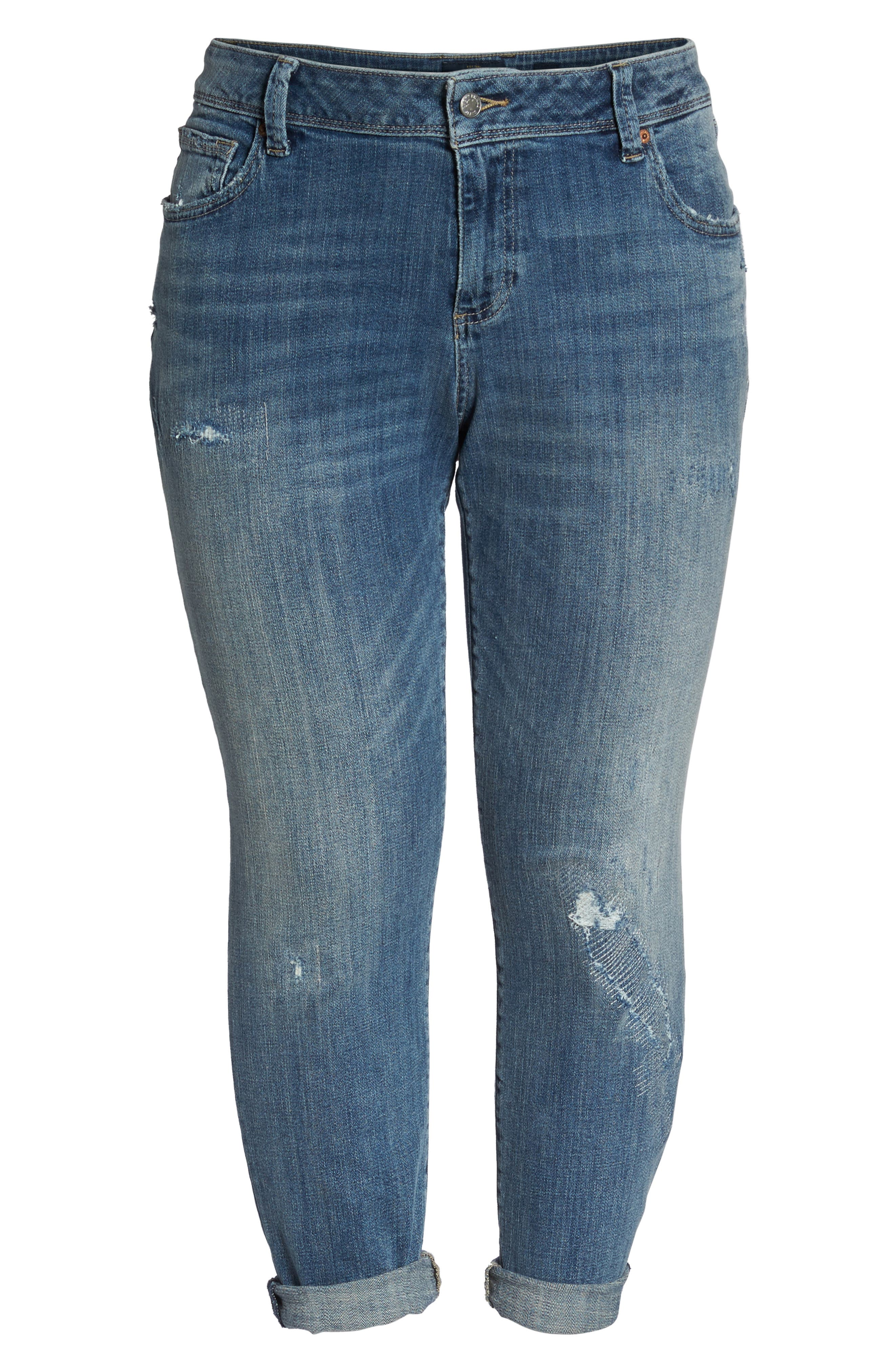 Reese Distressed Stretch Boyfriend Jeans,                             Alternate thumbnail 6, color,                             420