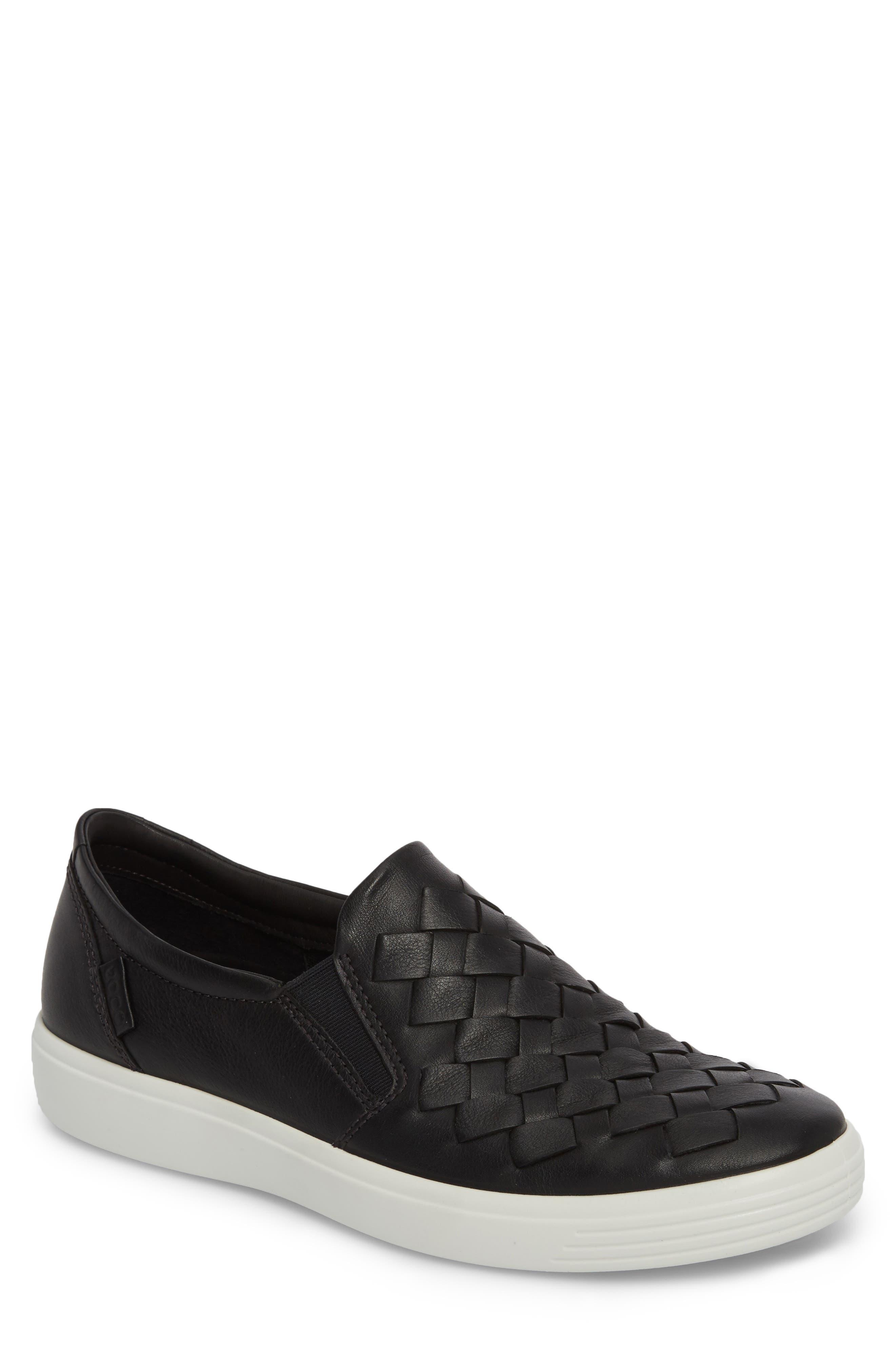 Soft 7 Woven Slip-On Sneaker,                             Main thumbnail 1, color,                             BLACK LEATHER