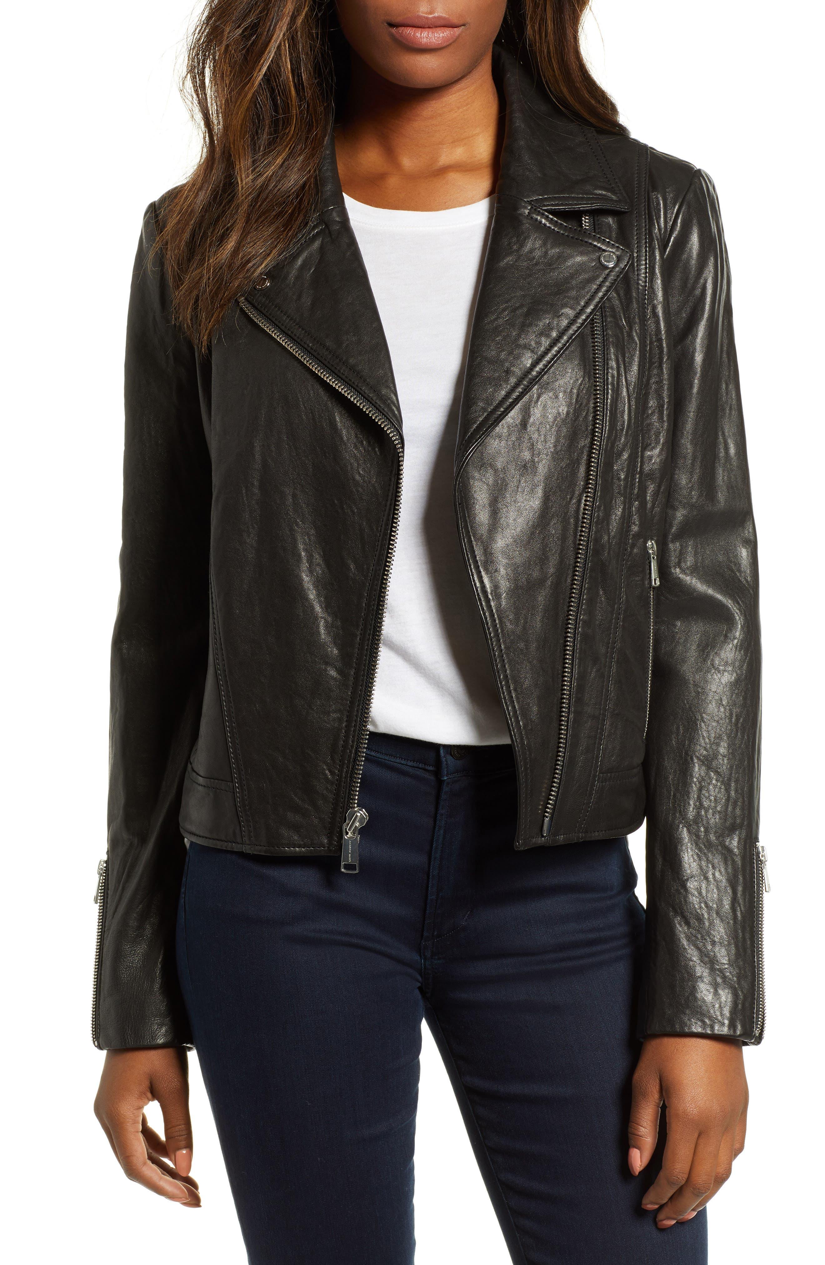 Washed Nappa Leather Moto Jacket,                         Main,                         color, BLACK