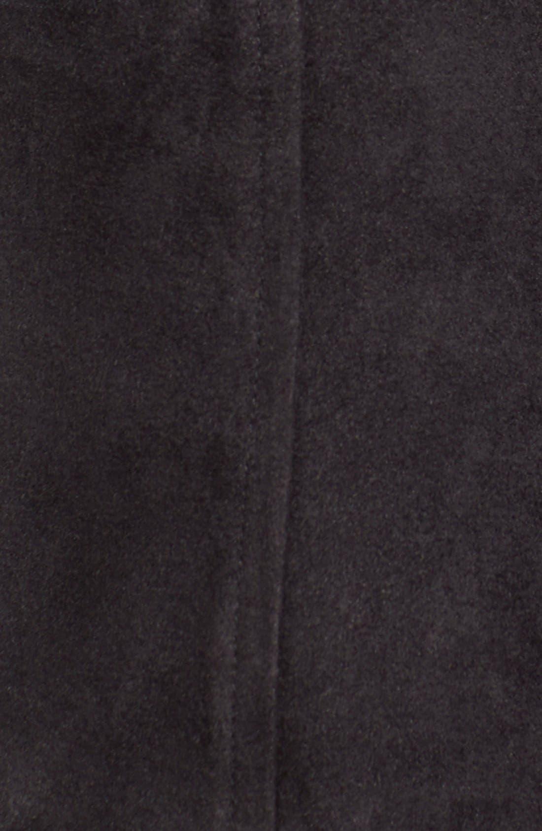 Button Front Faux Suede Skirt,                             Alternate thumbnail 4, color,                             001