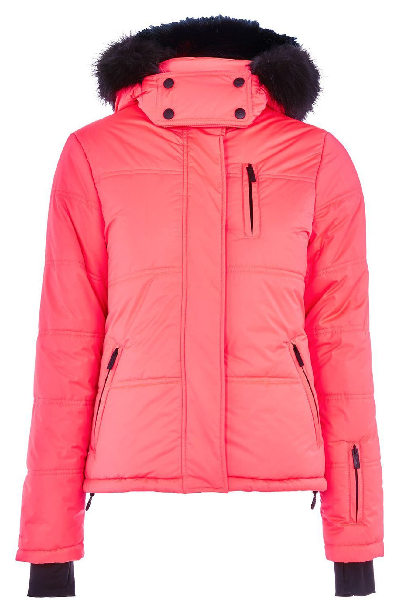 SNO Rio Faux Fur Hood Neon Puffer Jacket,                             Alternate thumbnail 7, color,