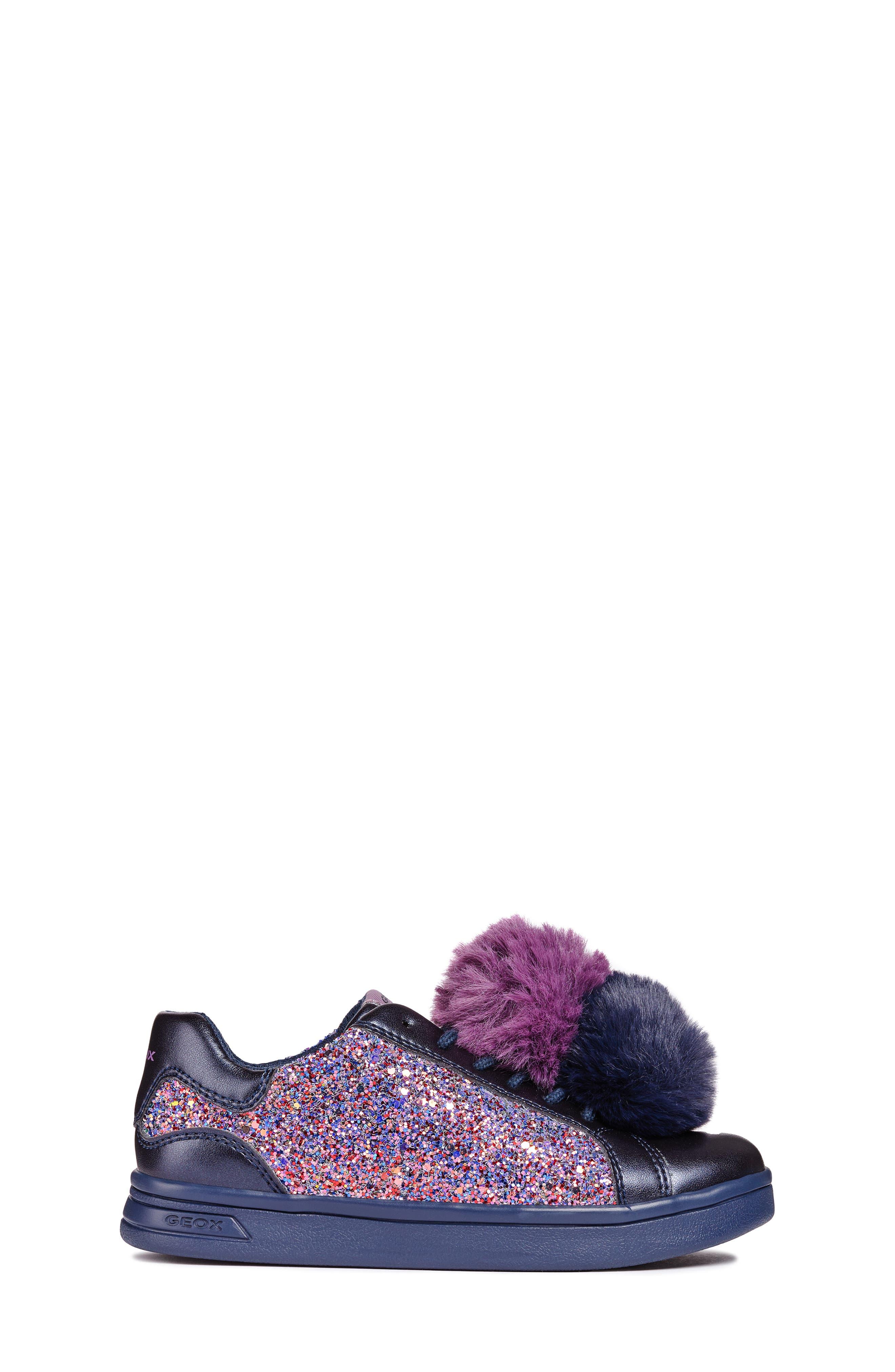 DJ Rock Glitter Pompom Sneaker,                             Alternate thumbnail 3, color,                             NAVY/LT PRUNE