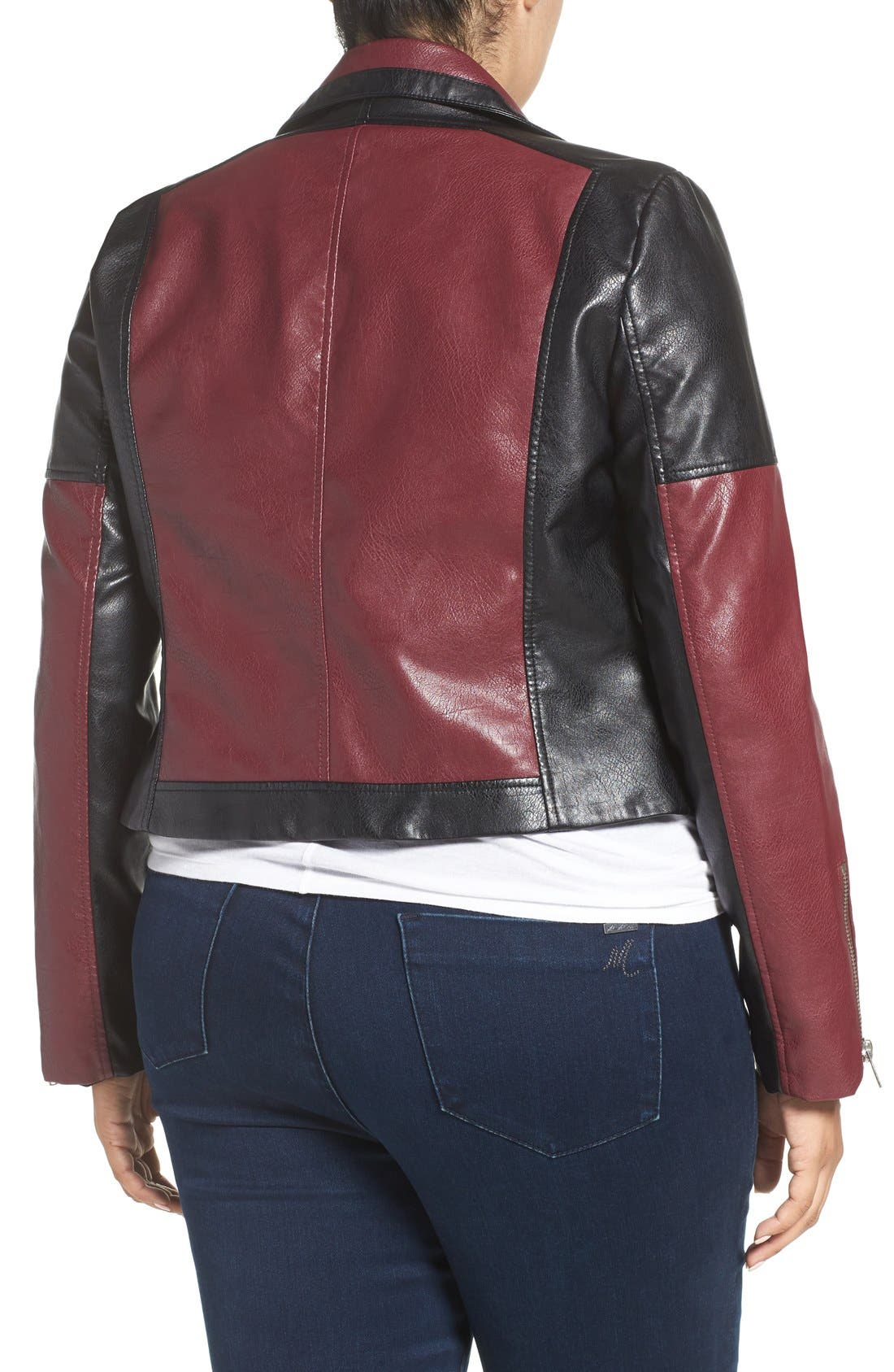 'Justine' Colorbock Faux Leather Jacket,                             Alternate thumbnail 2, color,                             602