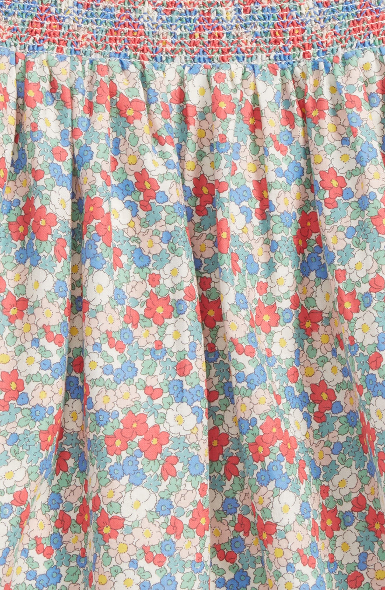 Floral Smocked Cotton Skirt,                             Alternate thumbnail 2, color,