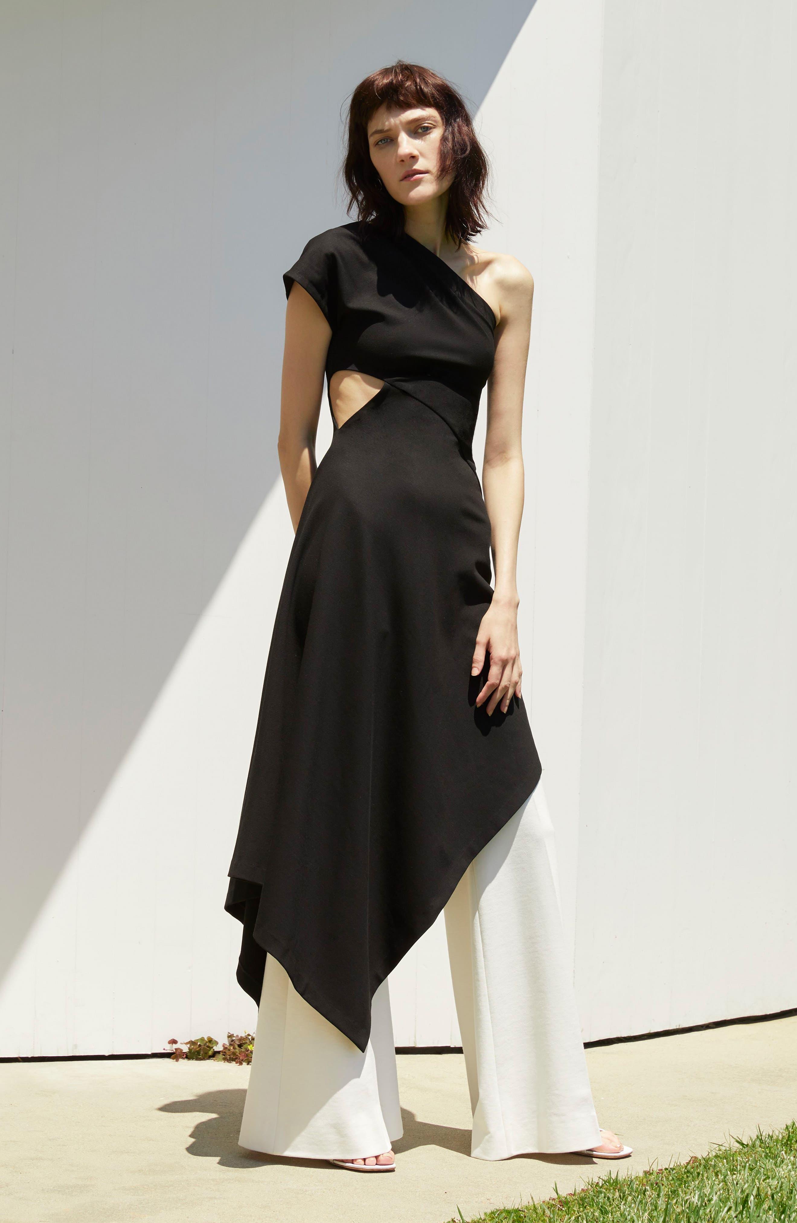 One-Shoulder Asymmetrical Jersey Dress,                             Alternate thumbnail 7, color,                             001