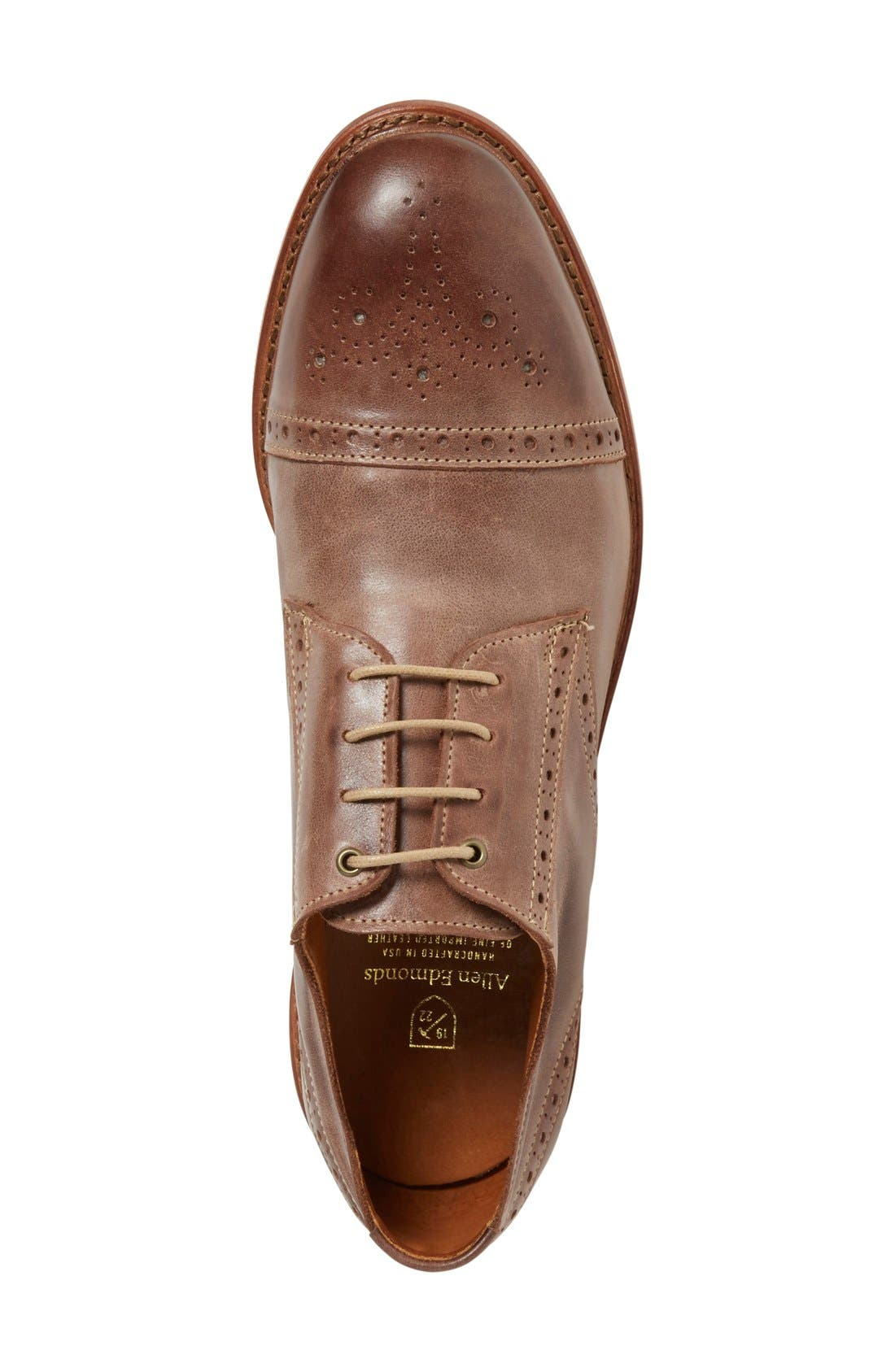 'Bainbridge' Cap Toe Derby,                             Alternate thumbnail 3, color,                             BROWN LEATHER