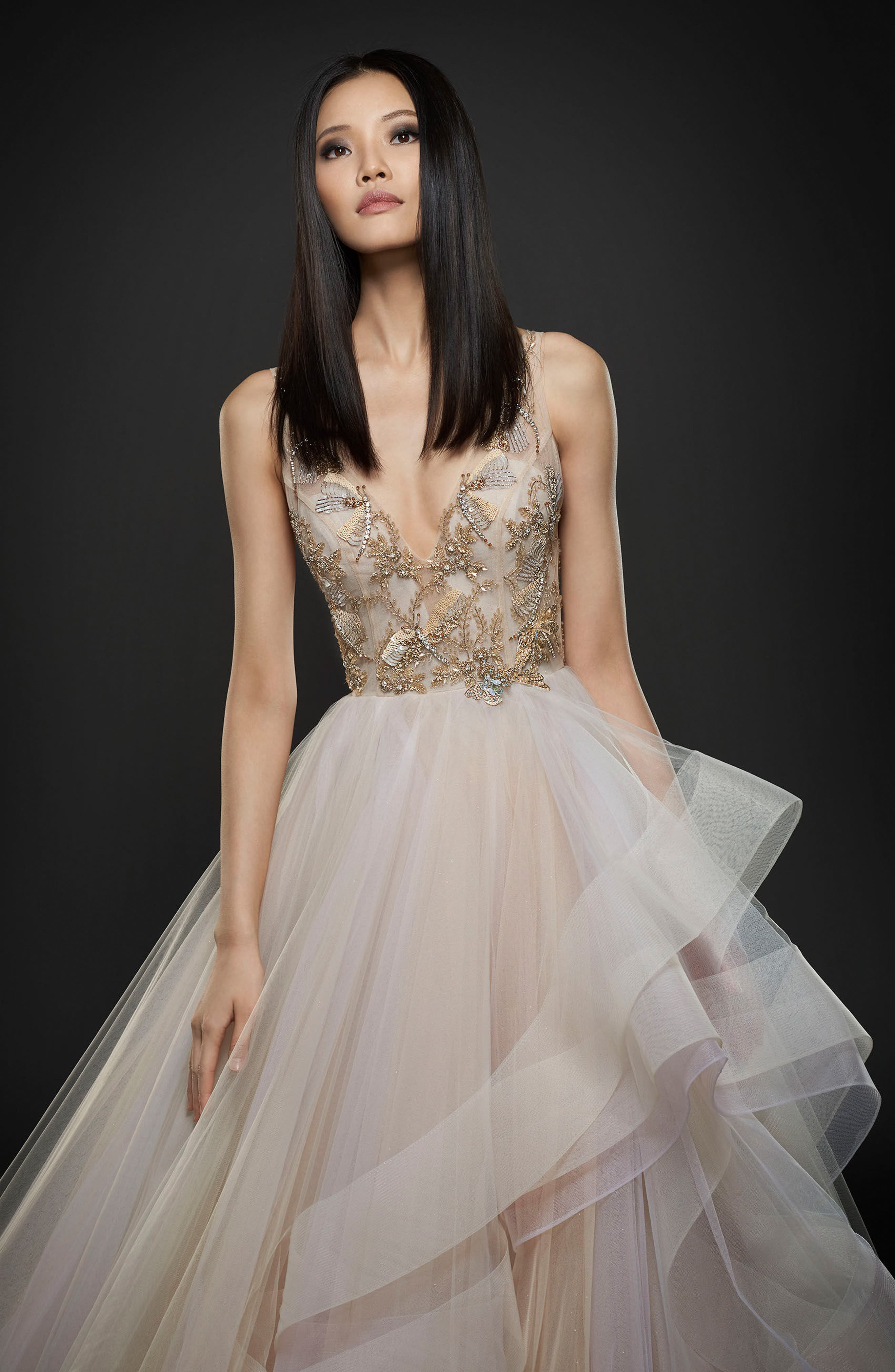 Embellished Layered Organza Ballgown,                             Alternate thumbnail 2, color,                             TOPAZ