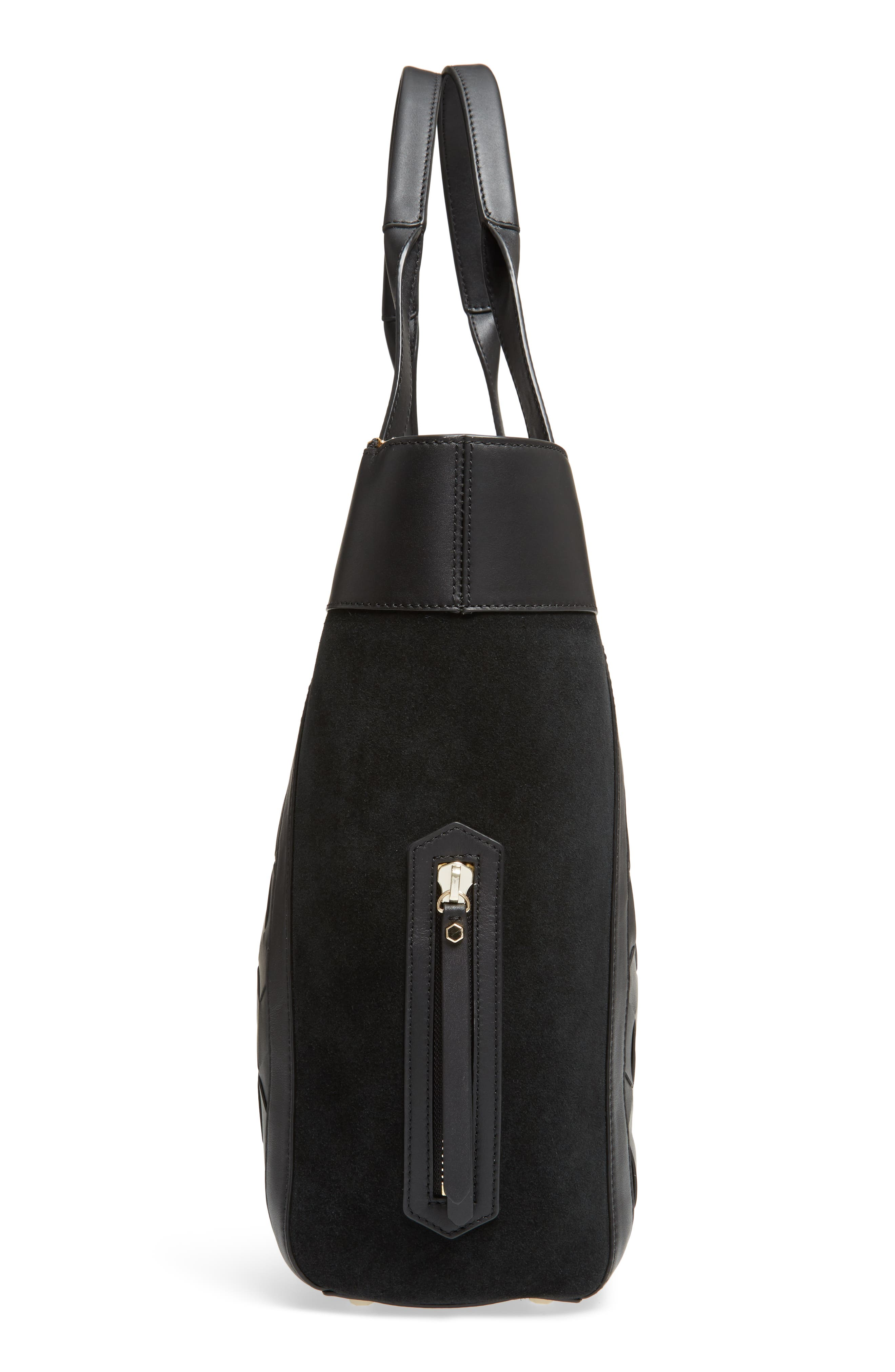 Northbound Suede & Leather Tote,                             Alternate thumbnail 5, color,                             001