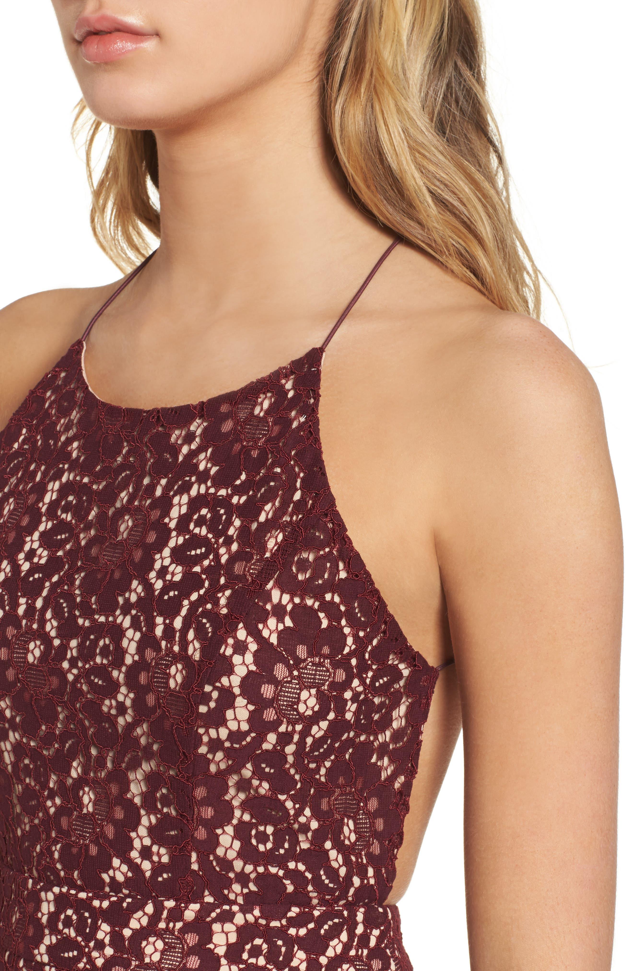Lace Halter Midi Dress,                             Alternate thumbnail 4, color,
