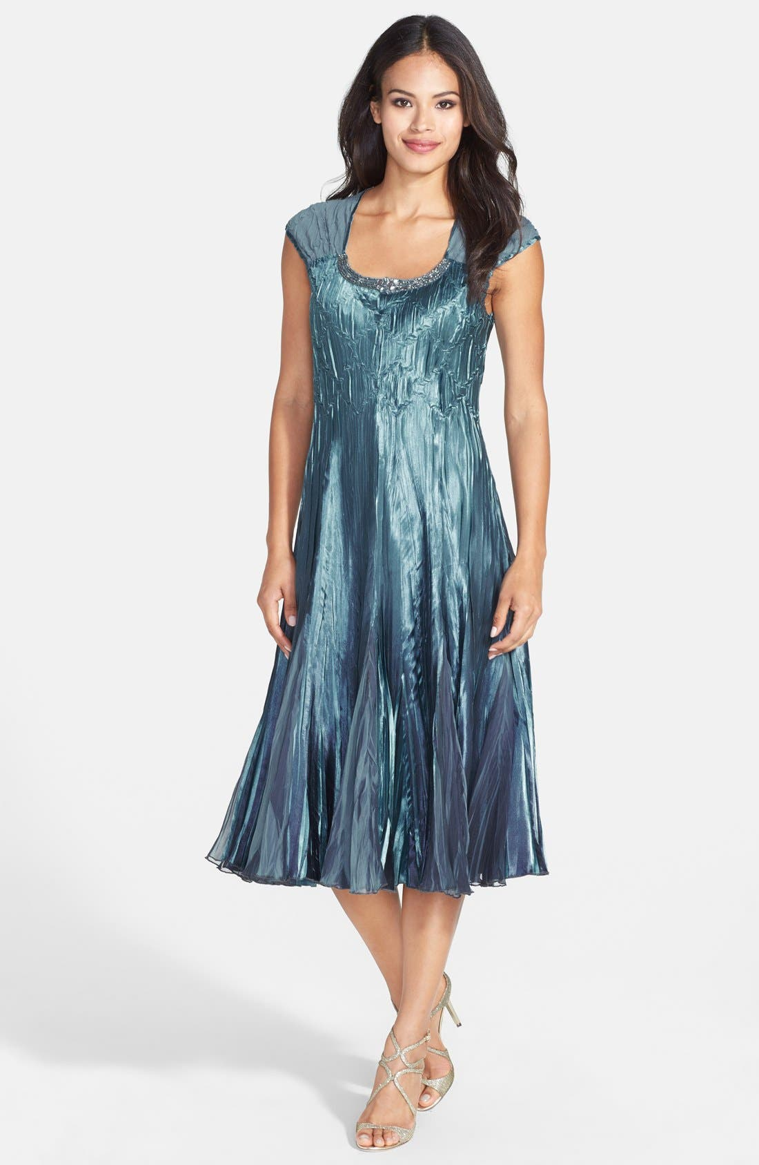 Embellished Pleat Mixed Media Dress with Jacket,                             Alternate thumbnail 10, color,                             SILVER BLUE OMBRE