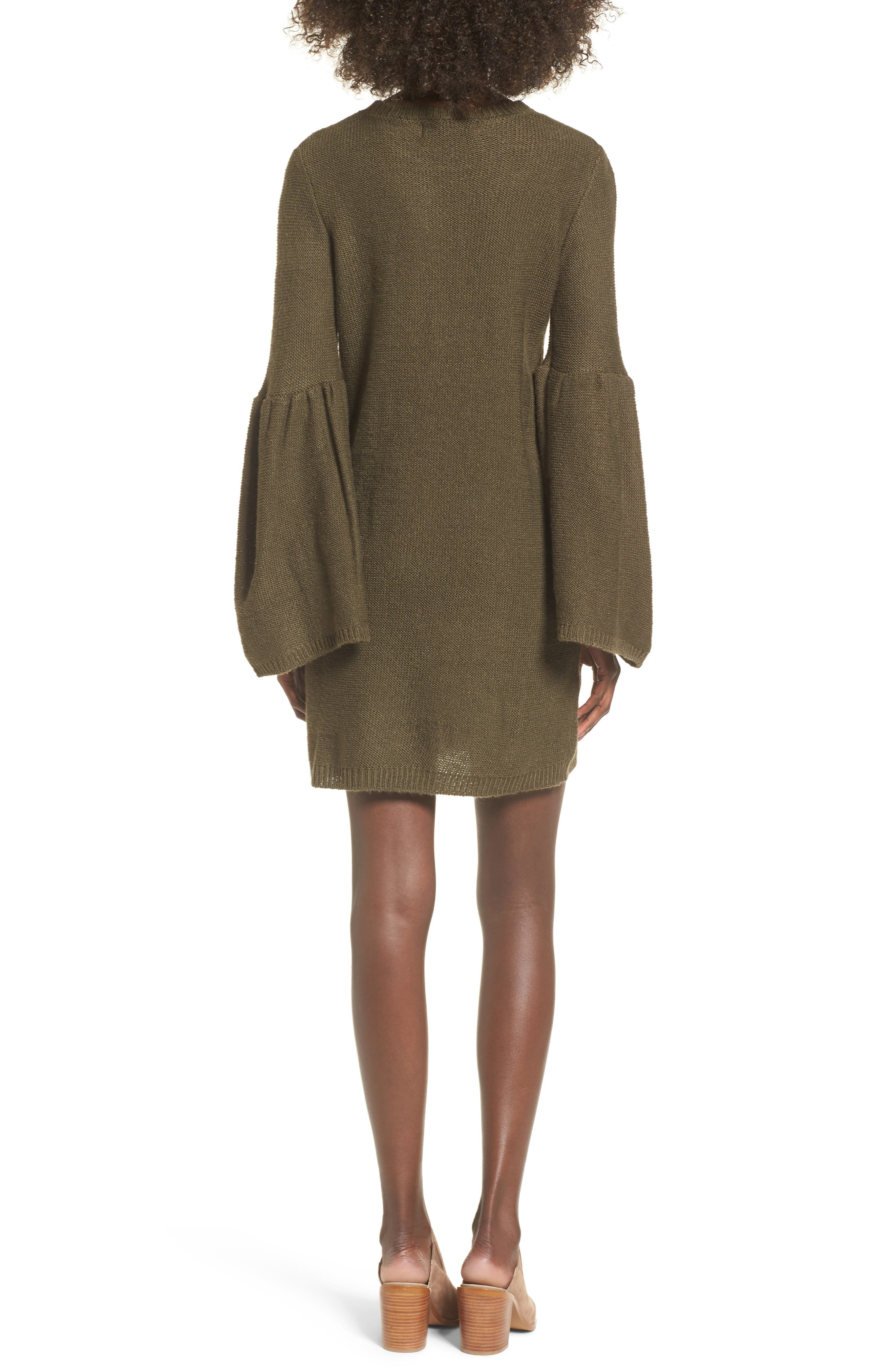Bell Sleeve Sweater Dress,                             Alternate thumbnail 4, color,