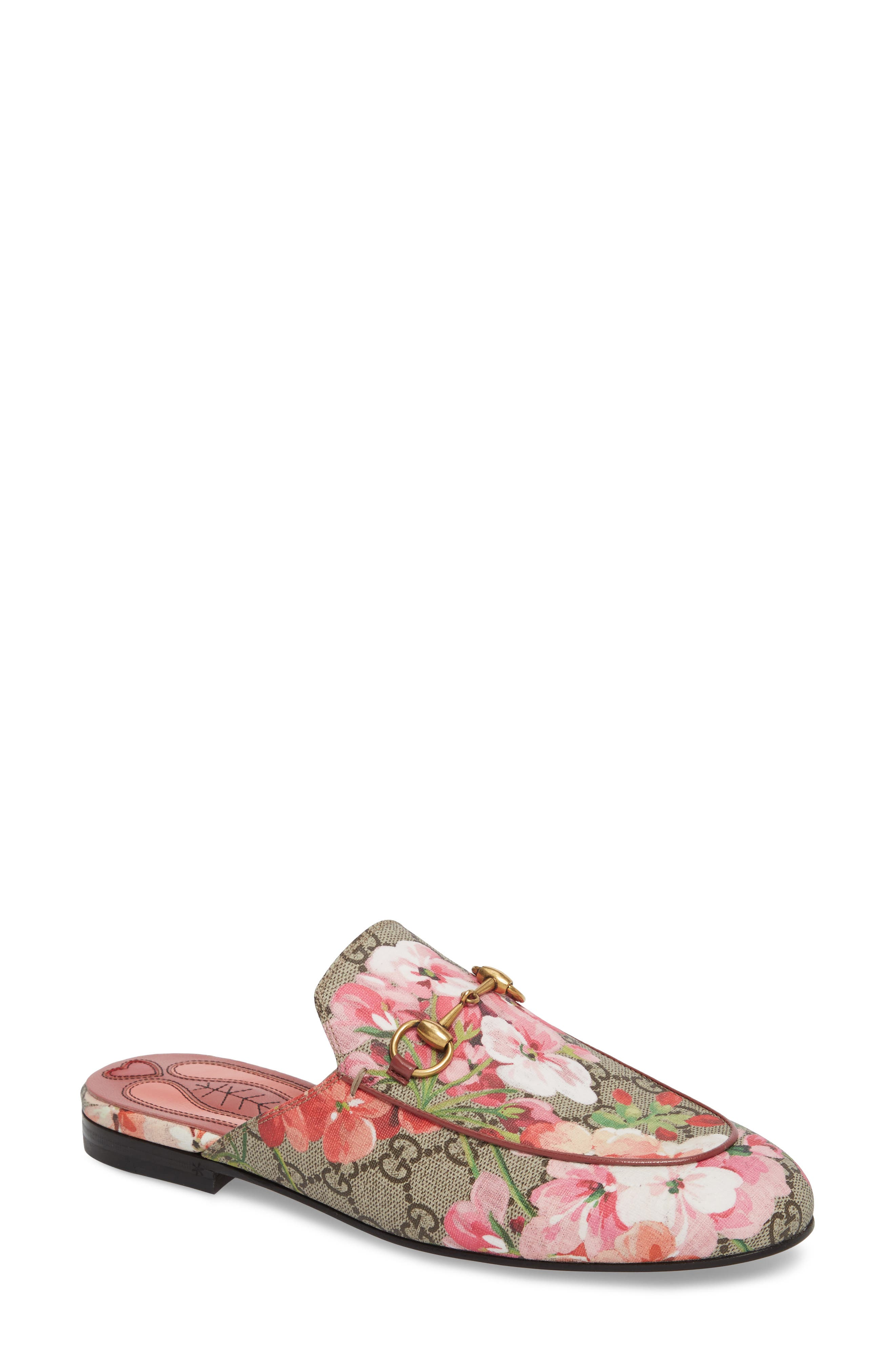 Princetown Loafer Mule,                         Main,                         color, BEIGE/ FLORAL PRINT