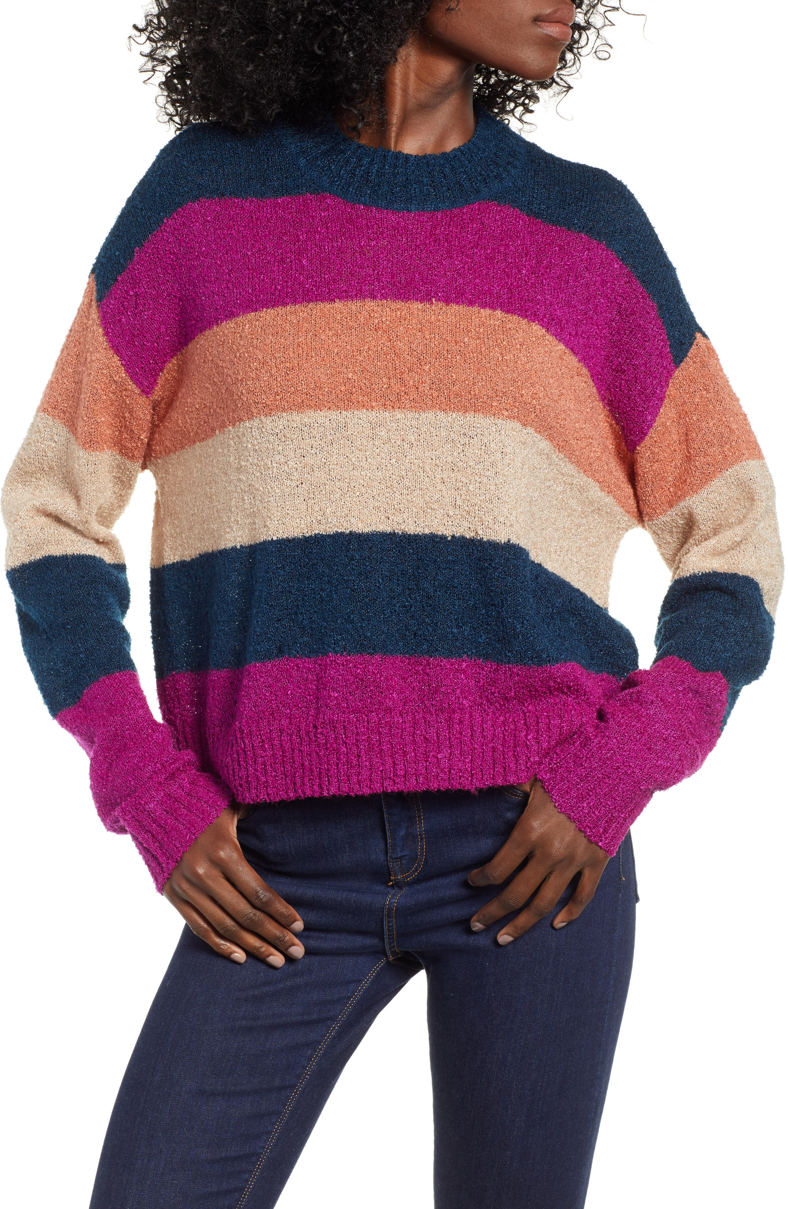 BP.,                             Stripe Bouclé Sweater,                             Main thumbnail 1, color,                             420