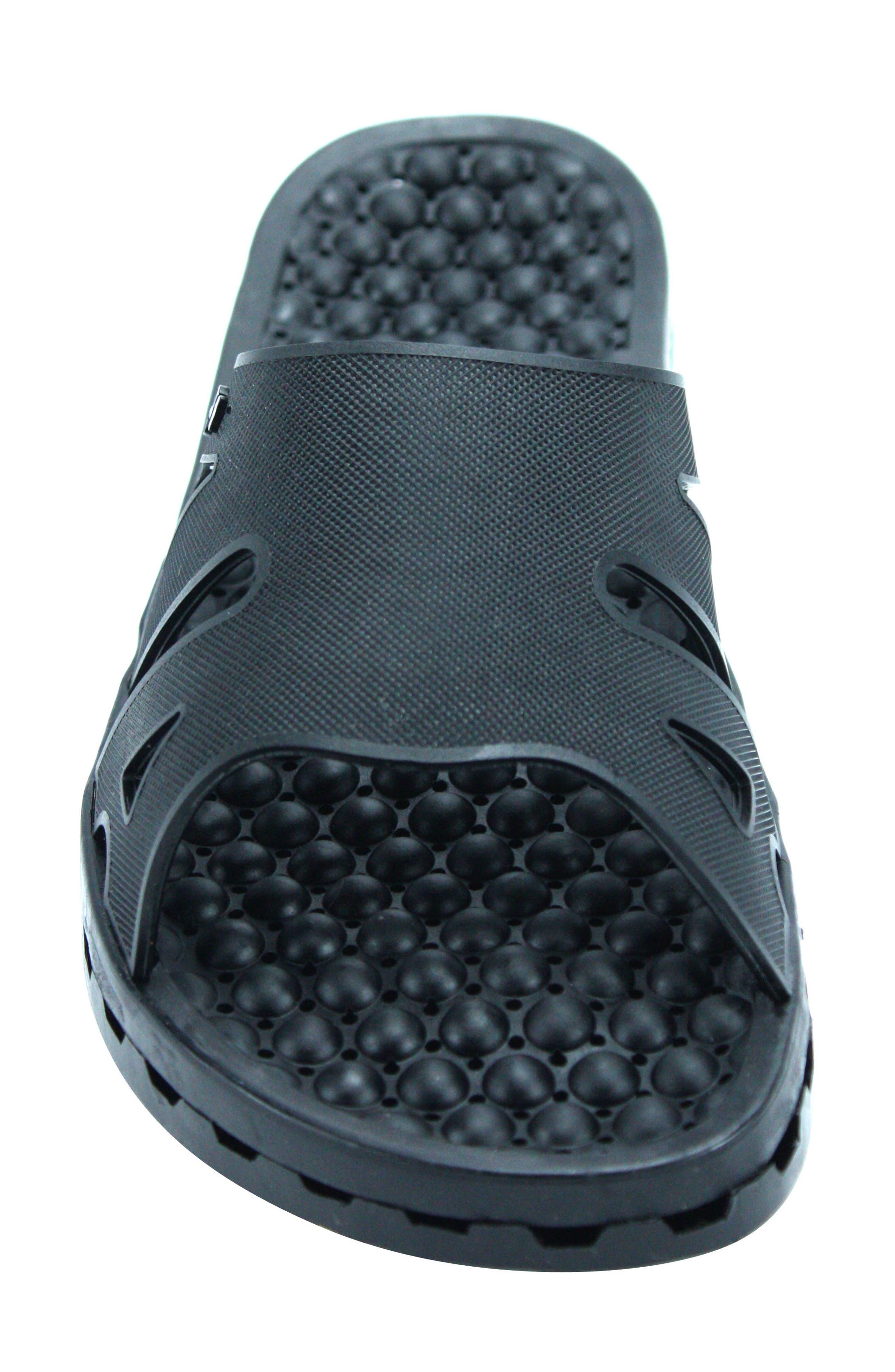 Regatta Ice Slide Sandal,                             Alternate thumbnail 4, color,                             SOLID BLACK