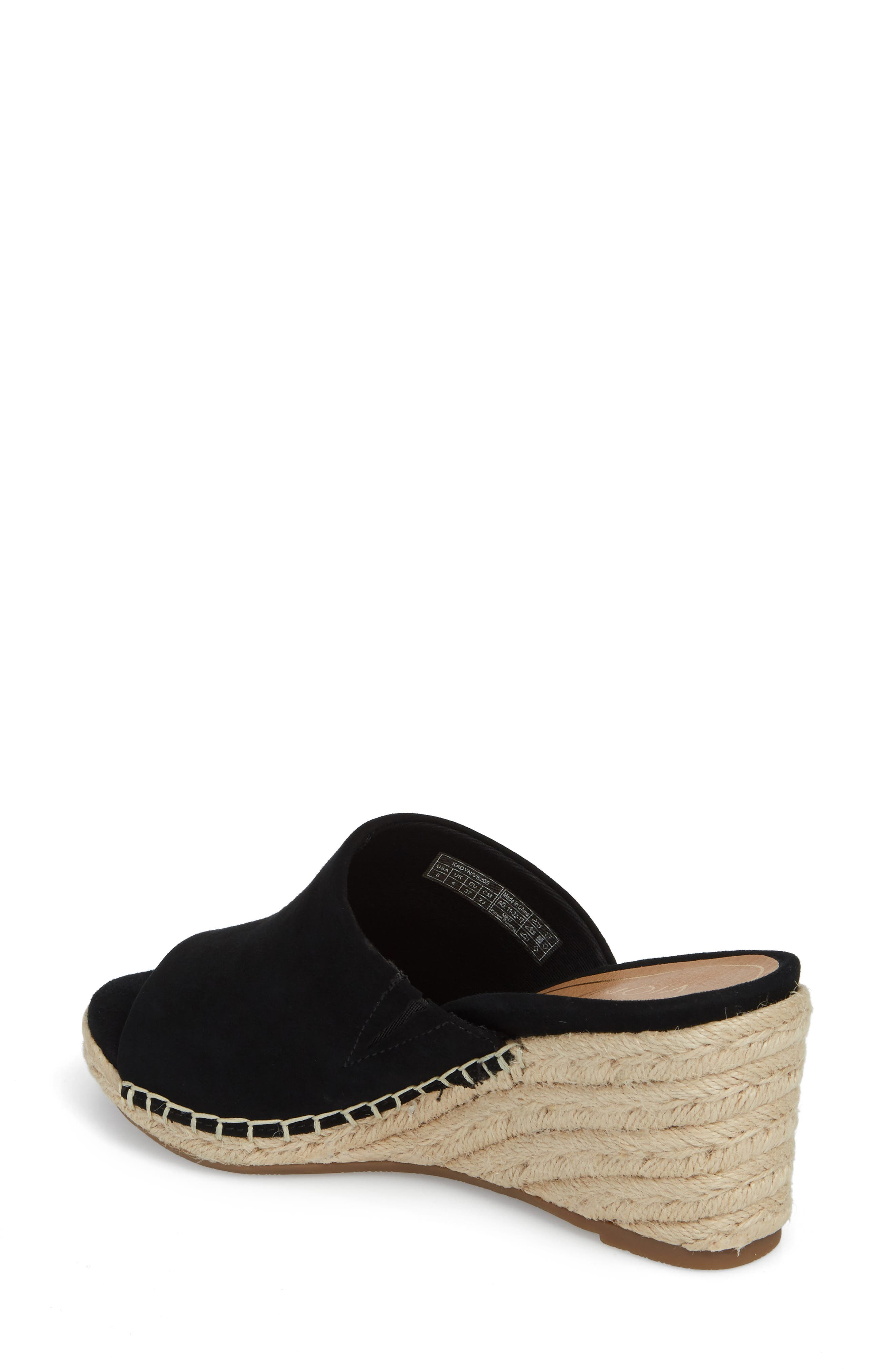 Kadyn Espadrille Wedge Sandal,                             Alternate thumbnail 2, color,                             BLACK SUEDE