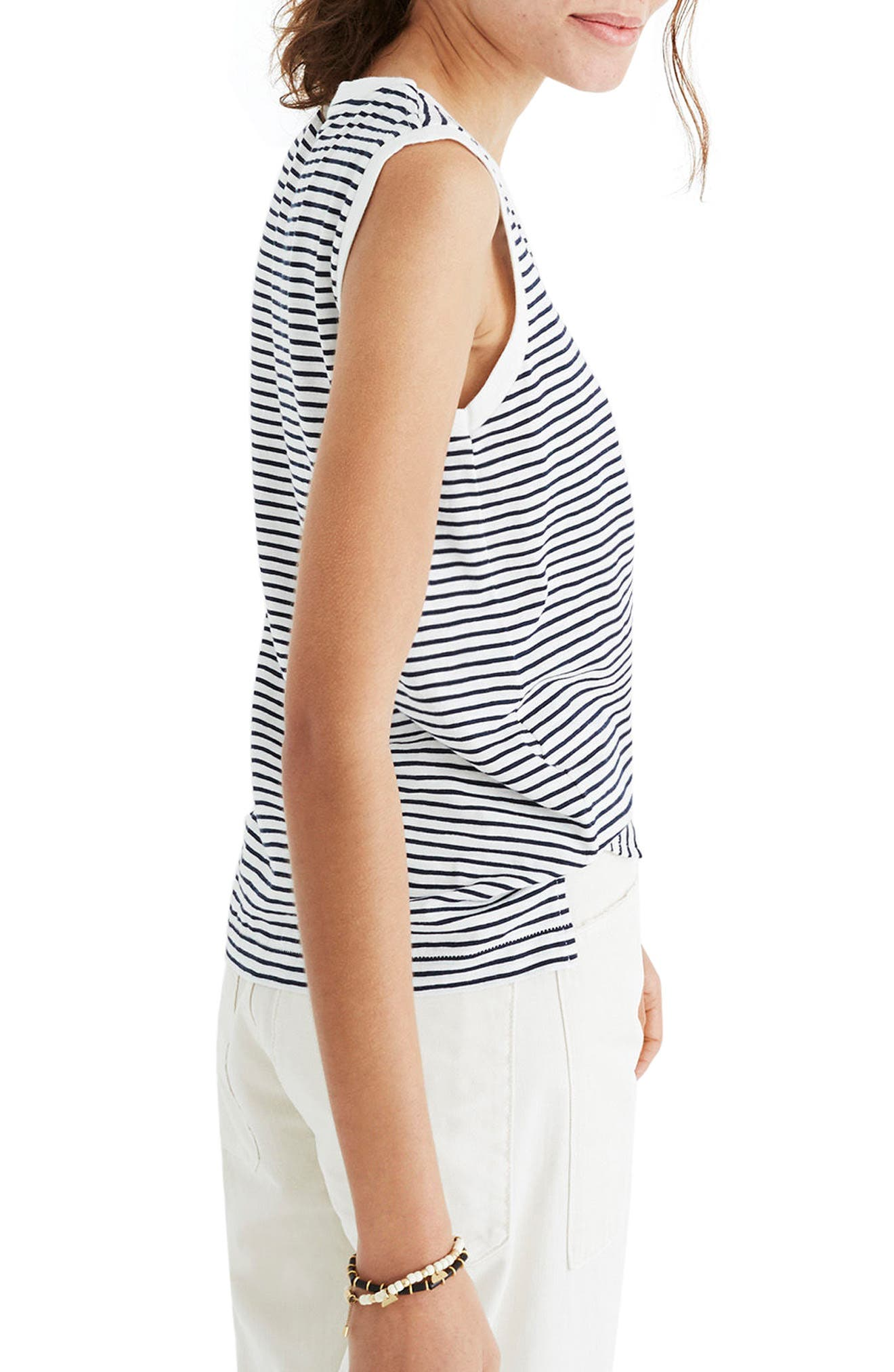 Whisper Cotton Stripe Crewneck Muscle Tank,                             Alternate thumbnail 2, color,                             400
