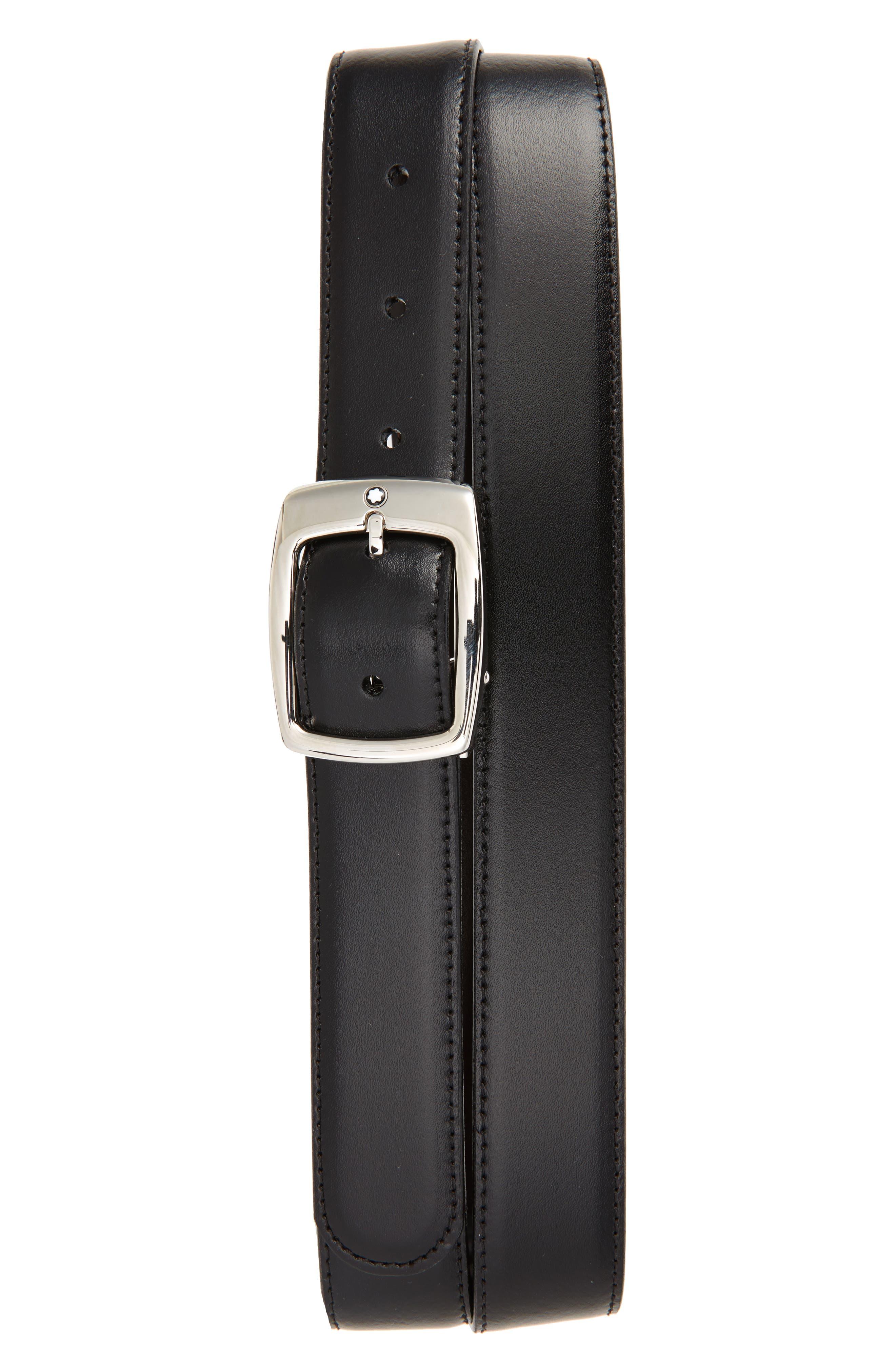 Reversible Leather Belt,                             Main thumbnail 1, color,                             001