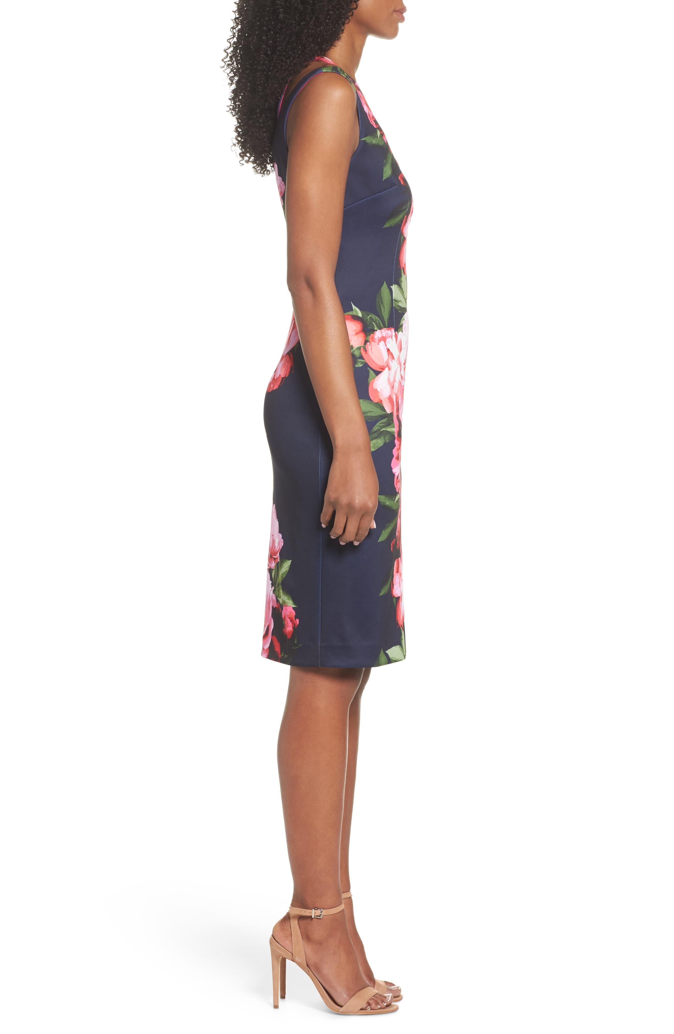 Scuba Sheath Dress,                             Alternate thumbnail 3, color,                             410