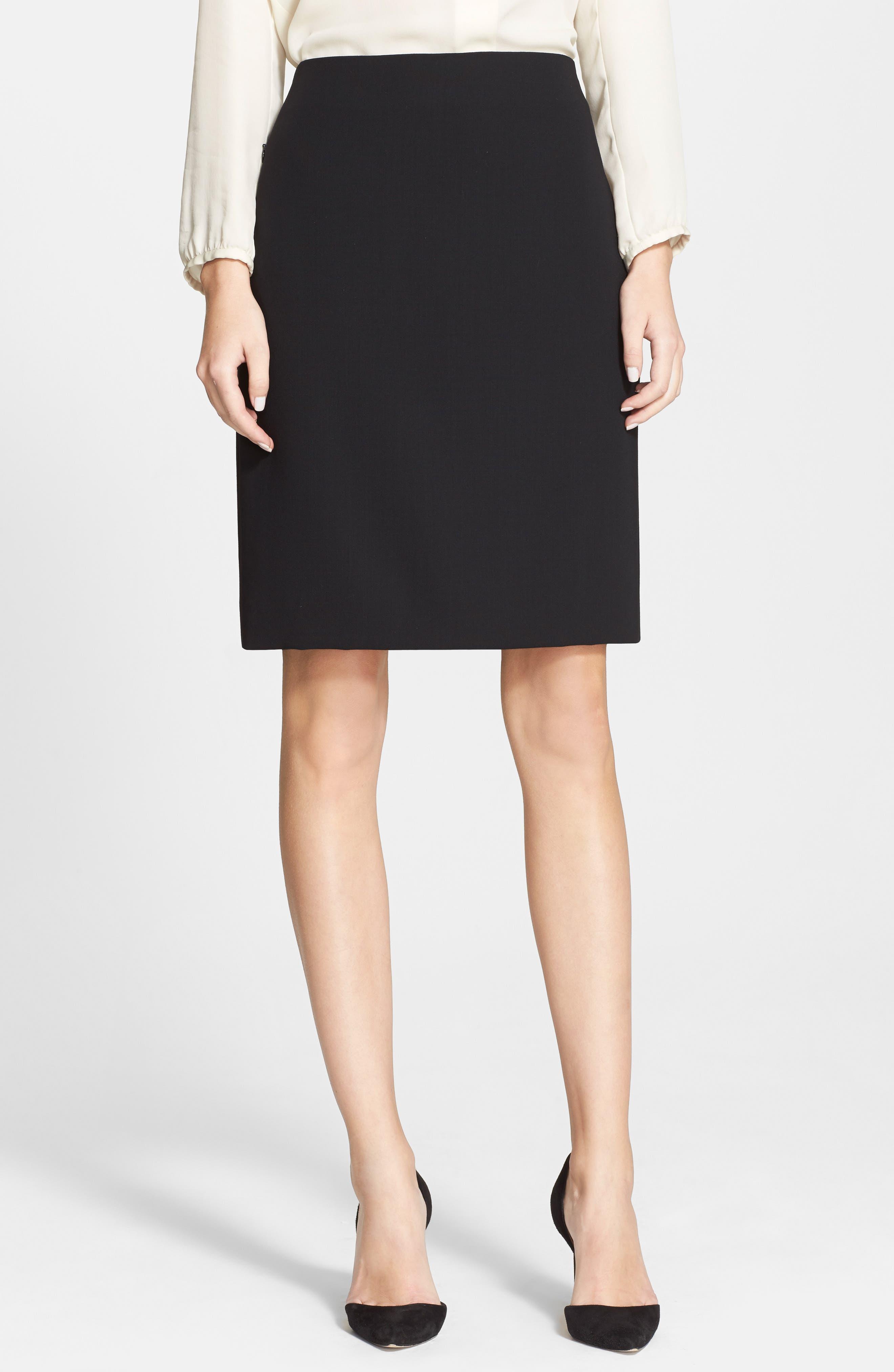 Double Face Pencil Skirt,                             Main thumbnail 1, color,                             BLACK